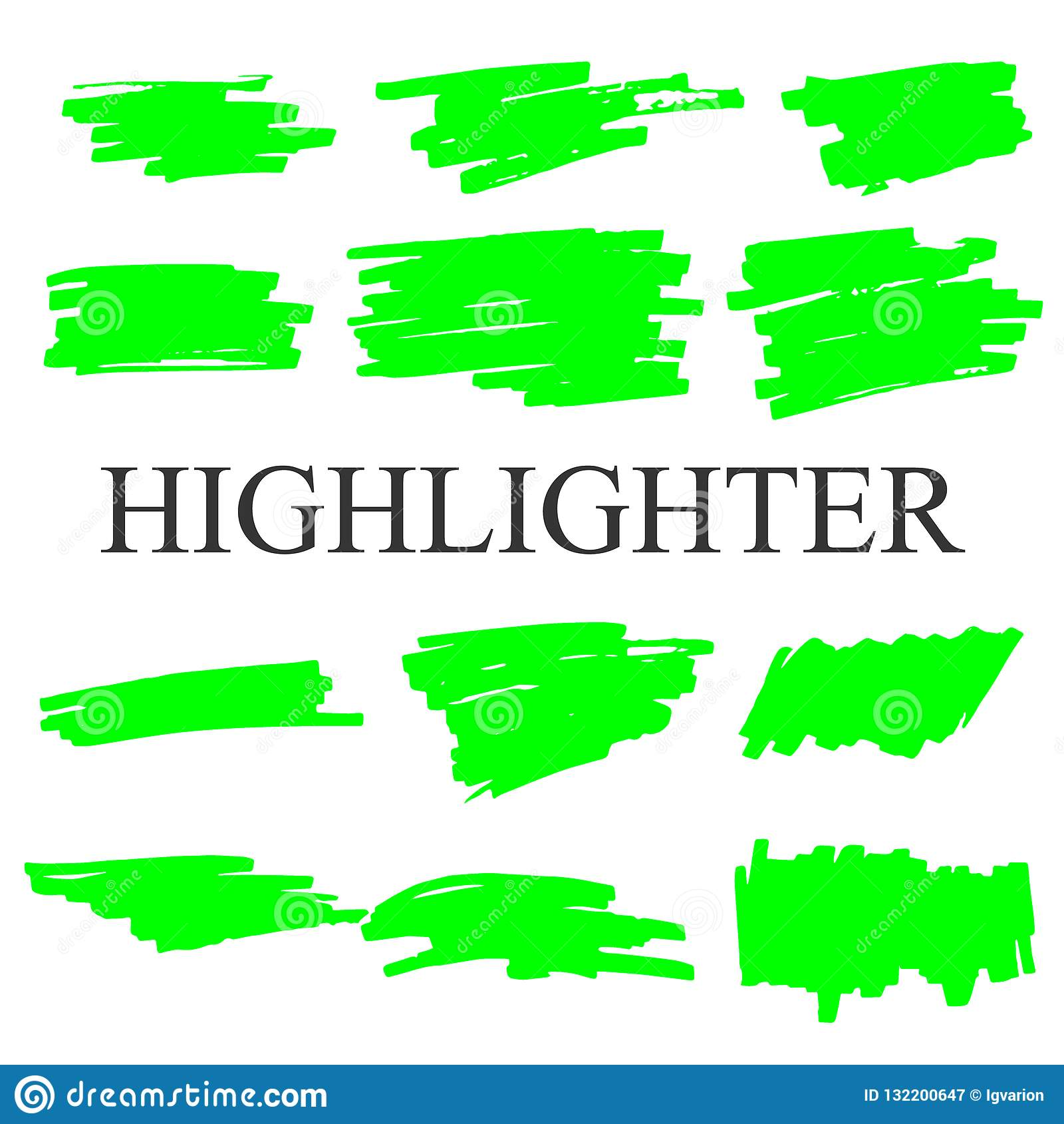Cursos do highlighter isolados no grupo branco do vetor do fundo