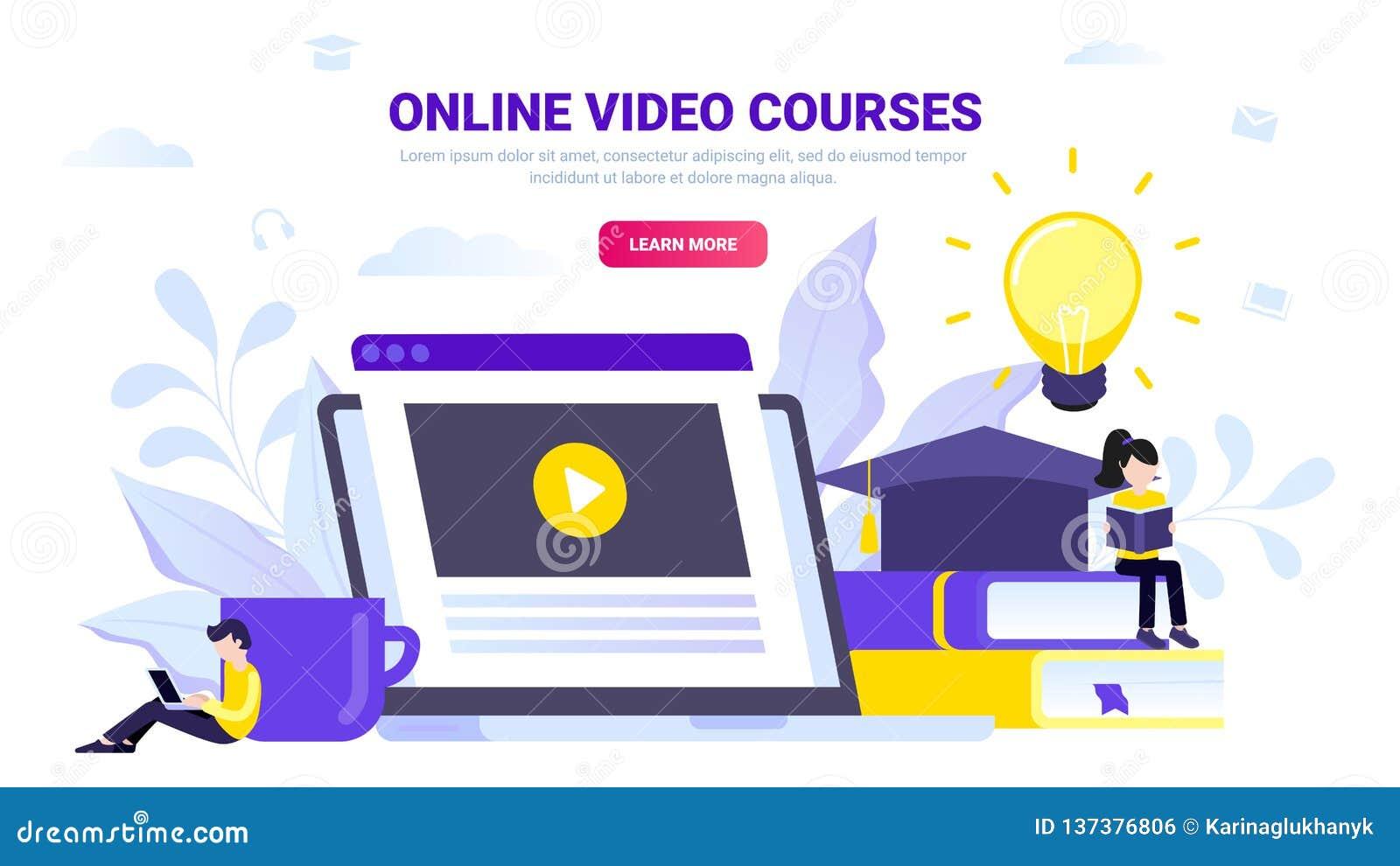 Cursos video em linha, conceito em linha da educação