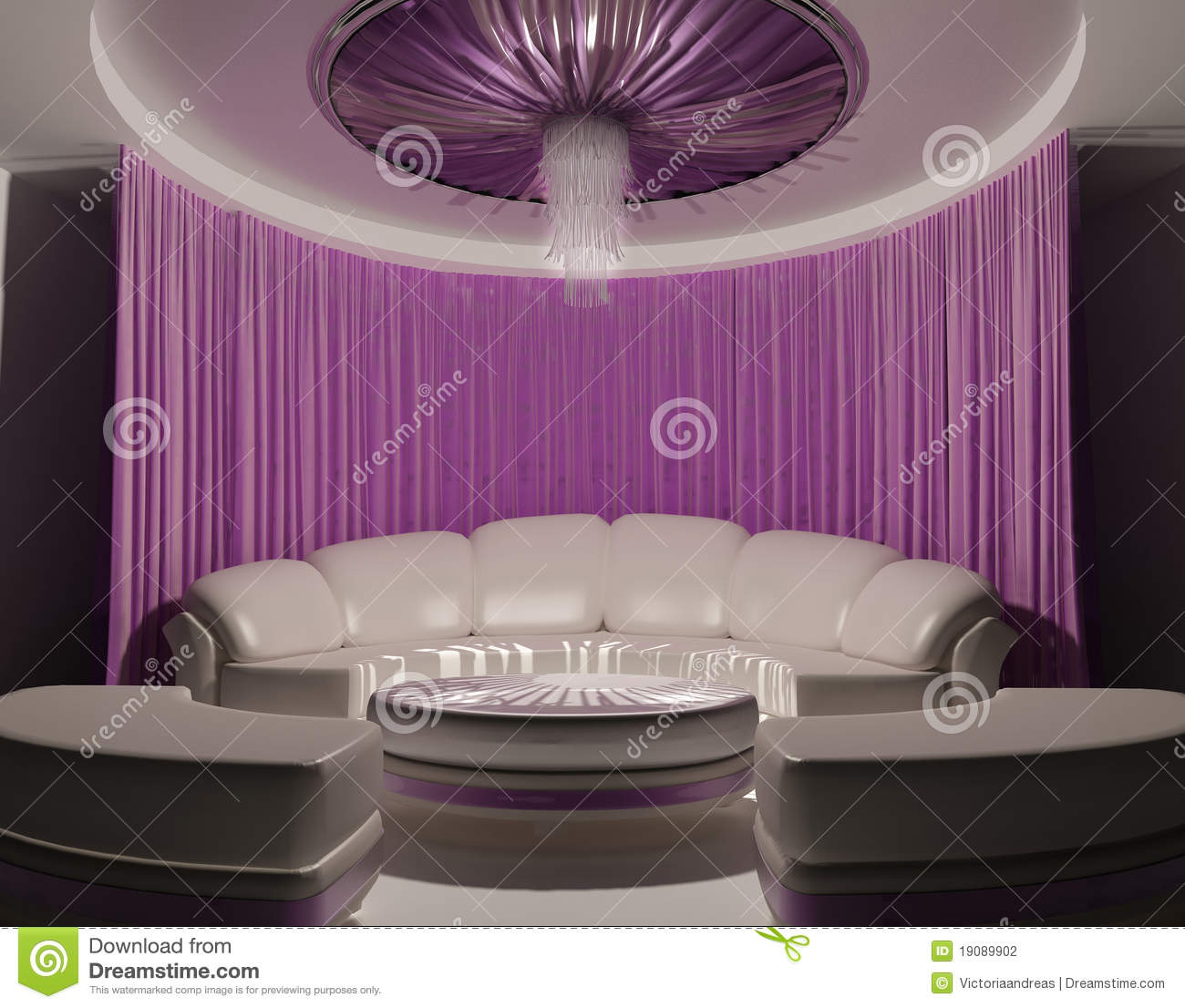 Curtain On The Ceiling And Sofa In Luxury Interior Stock Photography