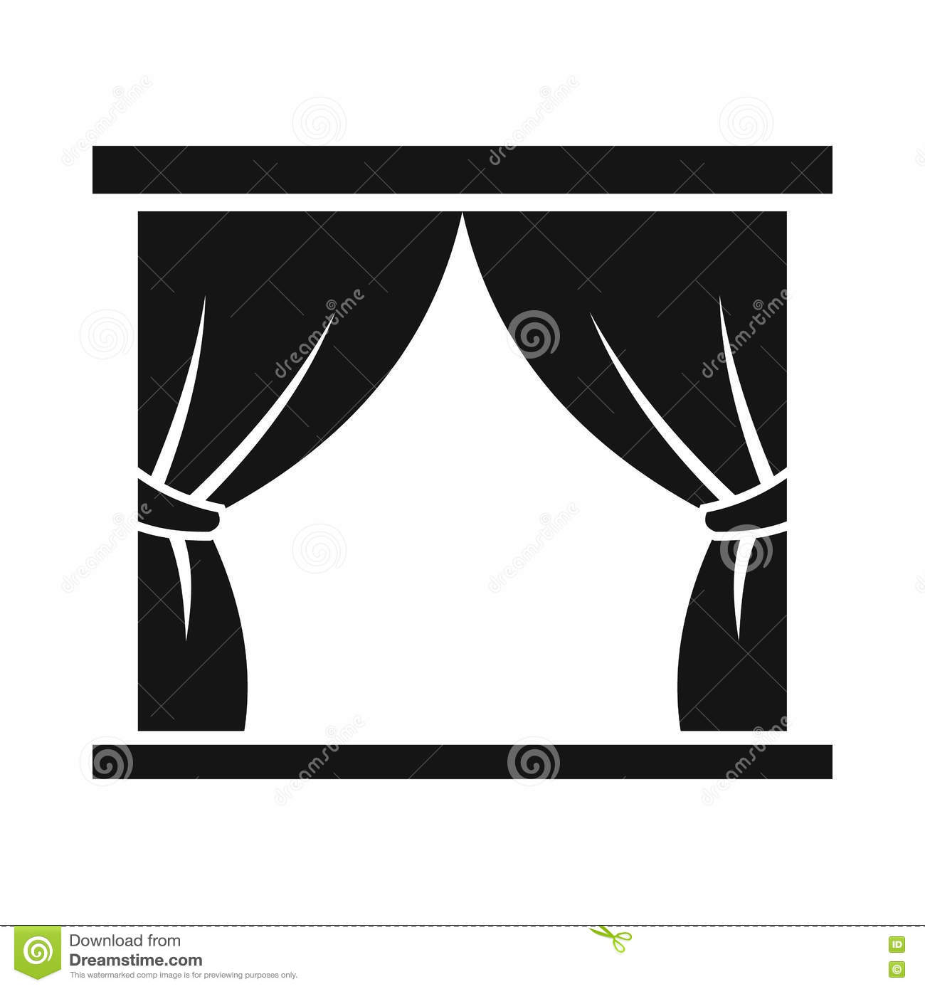 Black and white stage curtain - Curtain Icon Isolated Simple Stage