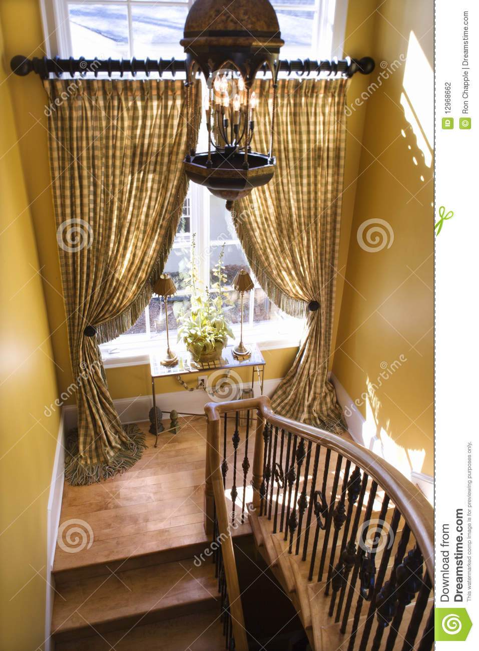 Curtained Window On Stair Landing Stock Photography ...