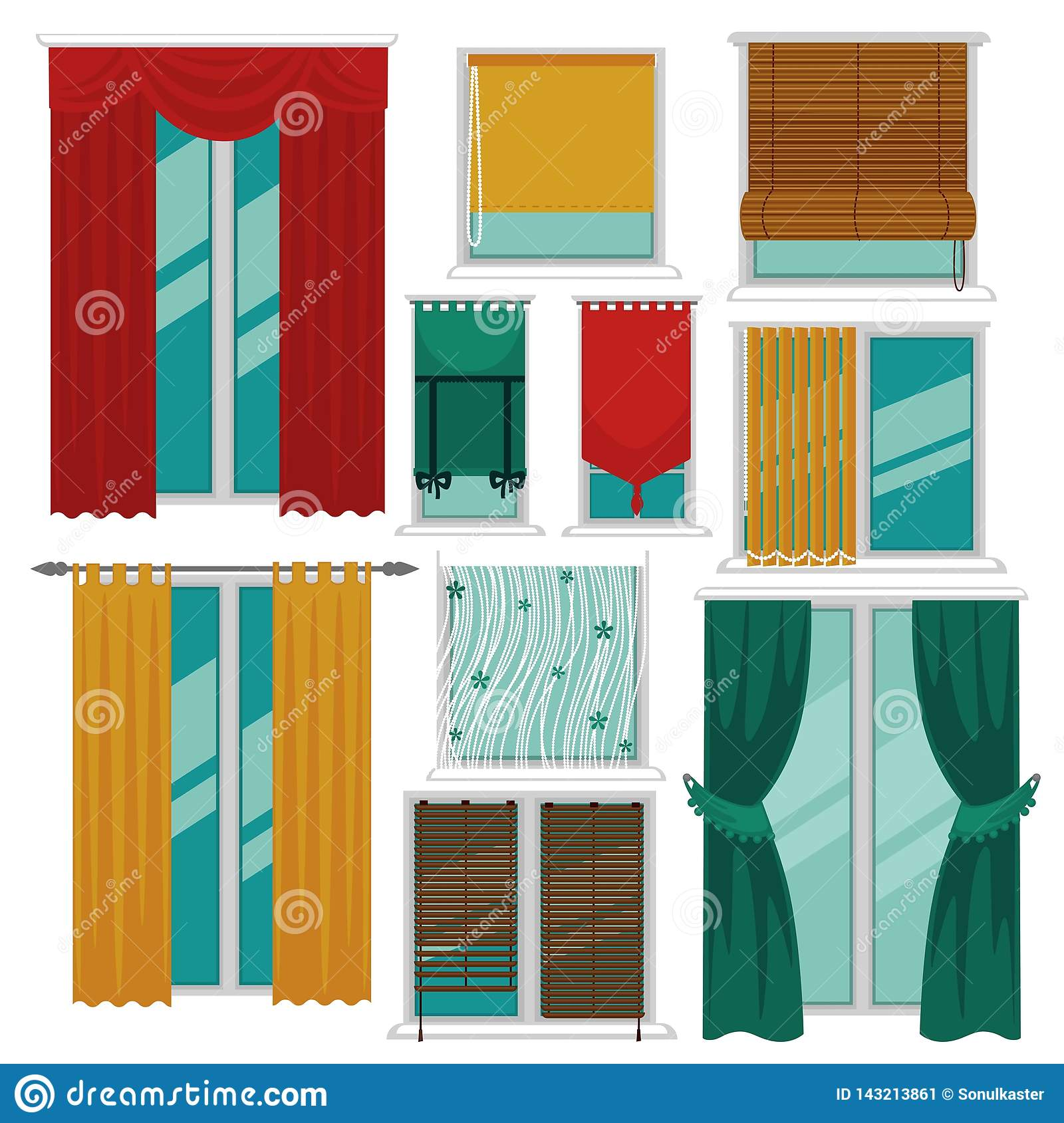 Curtains Blinds And Shutters On Windows Fabric And Wood