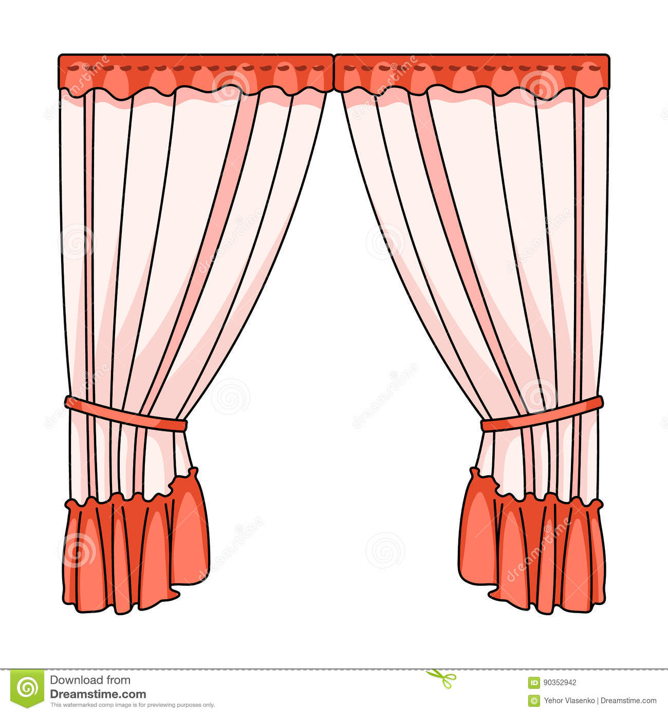 Curtains with drapery on the cornice curtains single icon - Picture of curtain ...