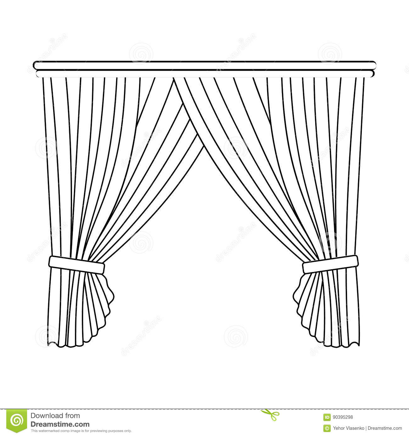 Curtains with drapery on the cornice curtains single icon for Decor outline