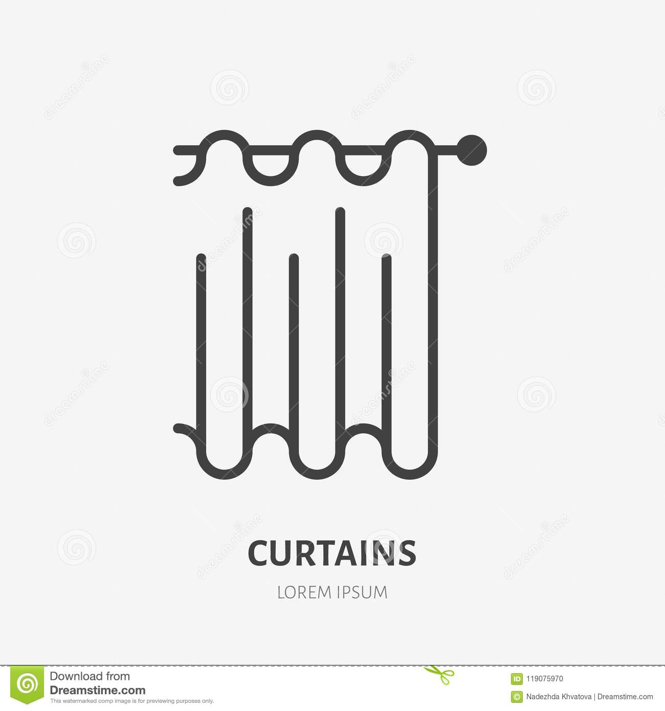 Curtains Flat Line Icon Bathroom Curtain Sign Thin Linear Logo For Interior Store Stock Vector