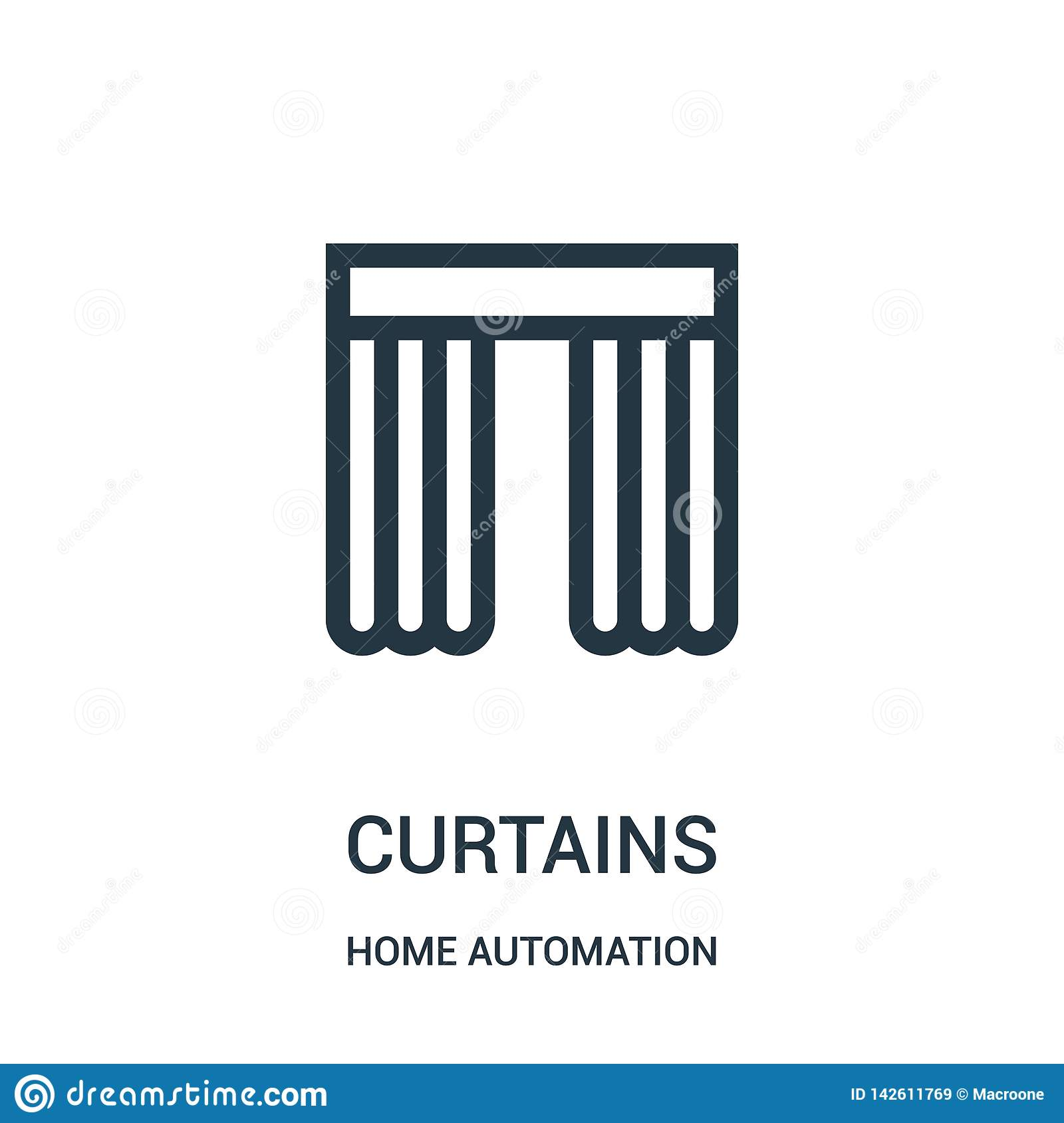 curtains icon vector from home automation collection. Thin line curtains outline icon vector illustration. Linear symbol