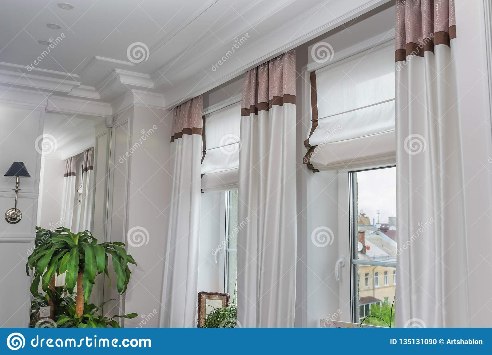 Curtains in the interior, Curtain interior decoration in living room