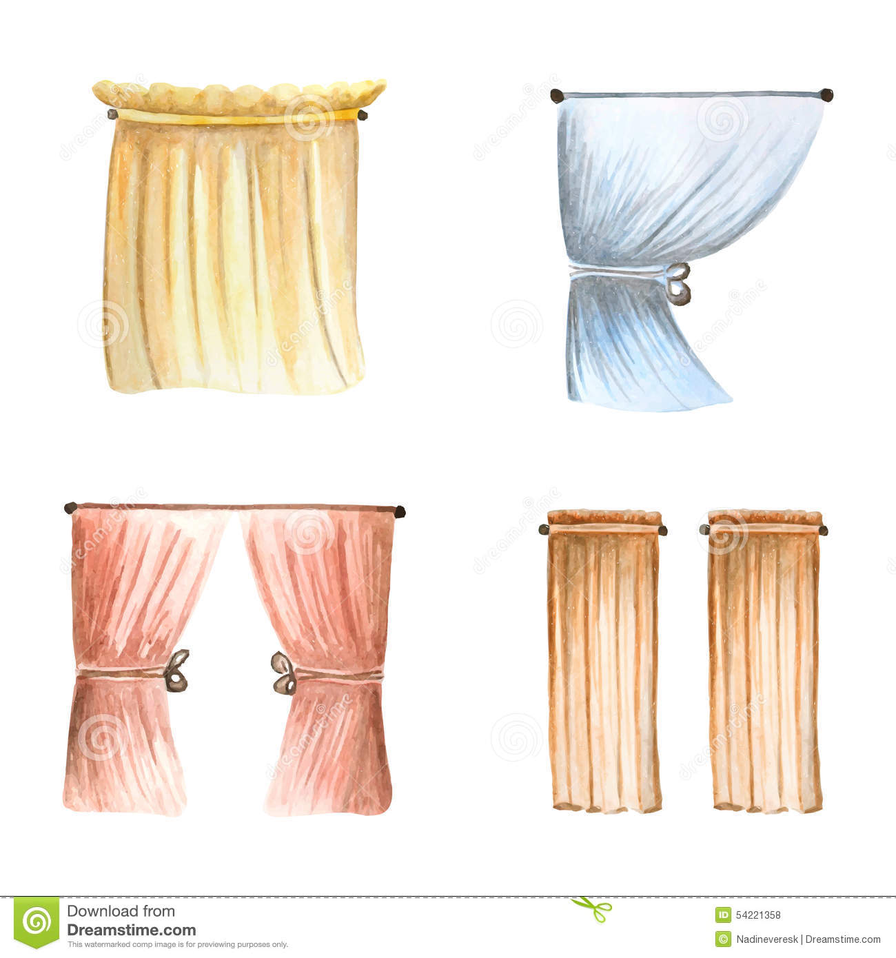 Curtains Set Stock Vector Illustration Of Apartment
