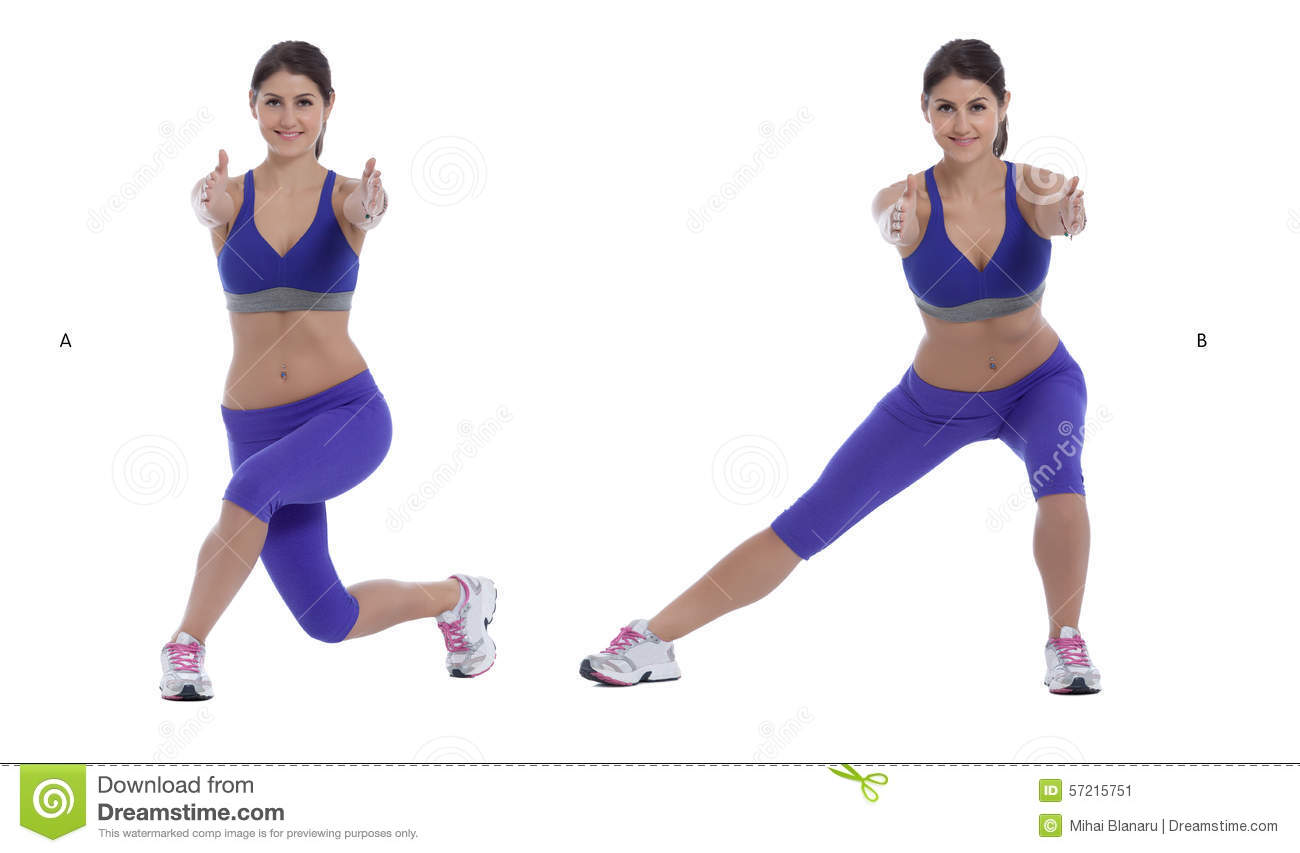 Curtsy Squat Lateral Lift Stock Photo Image 57215751