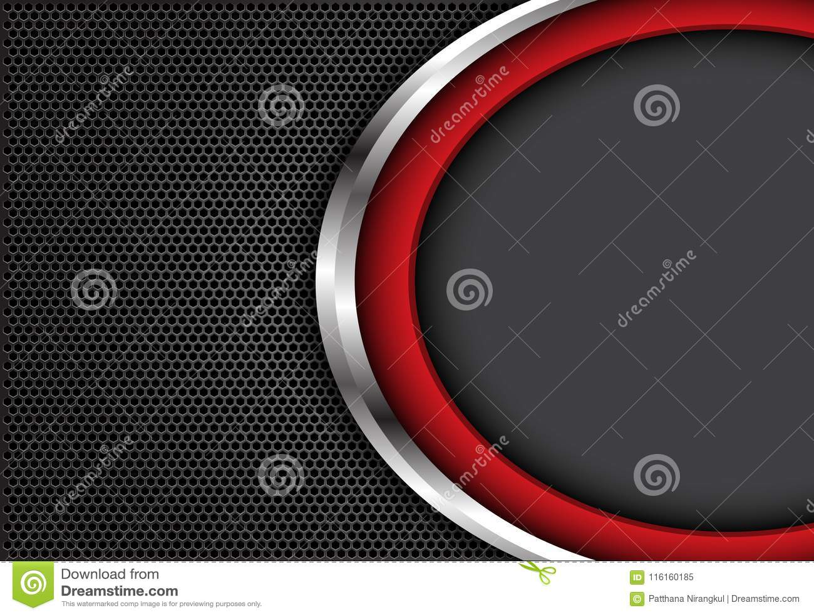 Curva d argento rossa astratta con spazio grigio sul vettore futuristico moderno di struttura del fondo di esagono di progettazio