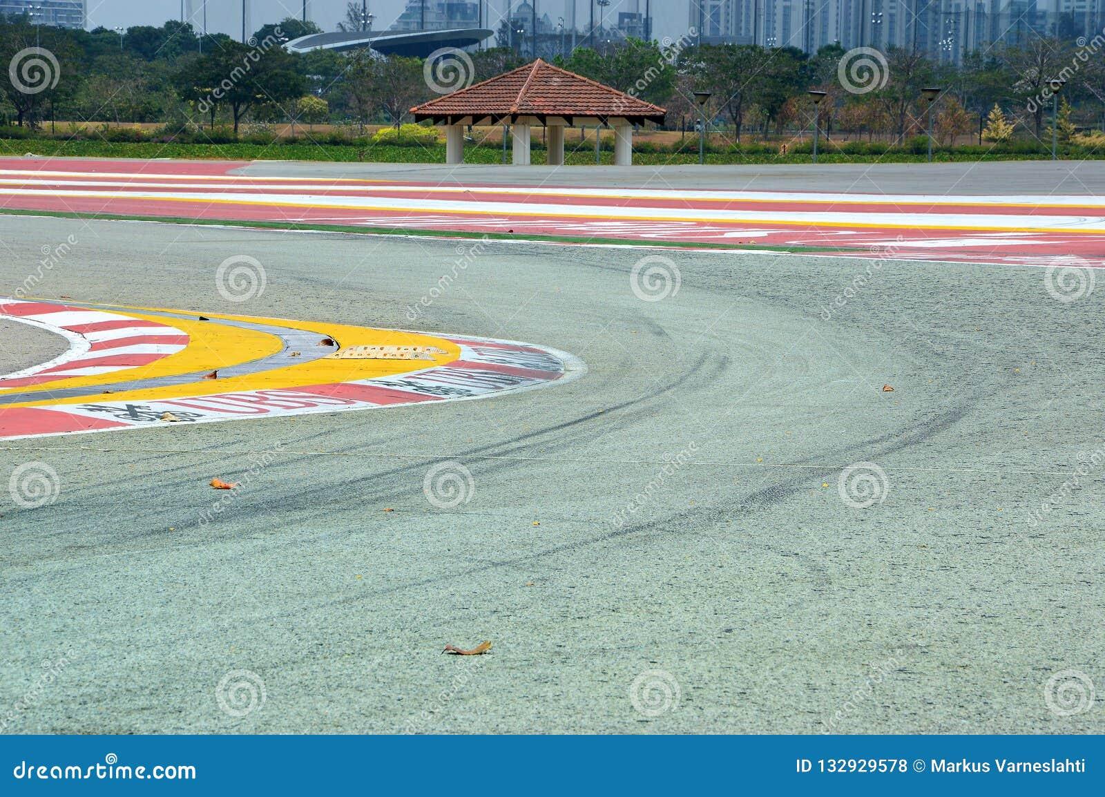 Curva da trilha da fórmula 1 em Singapura