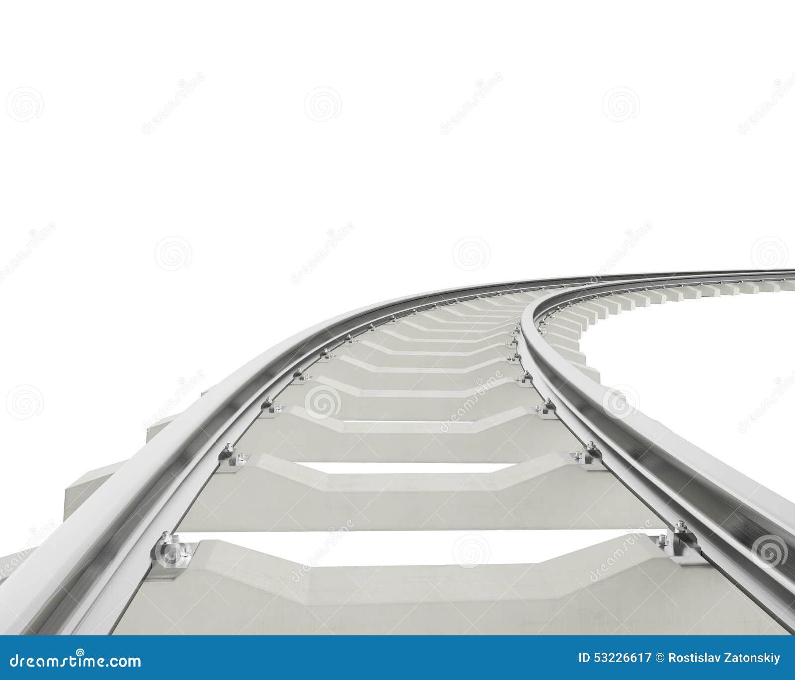 Curva del ejemplo, ferrocarril de la vuelta aislado en blanco