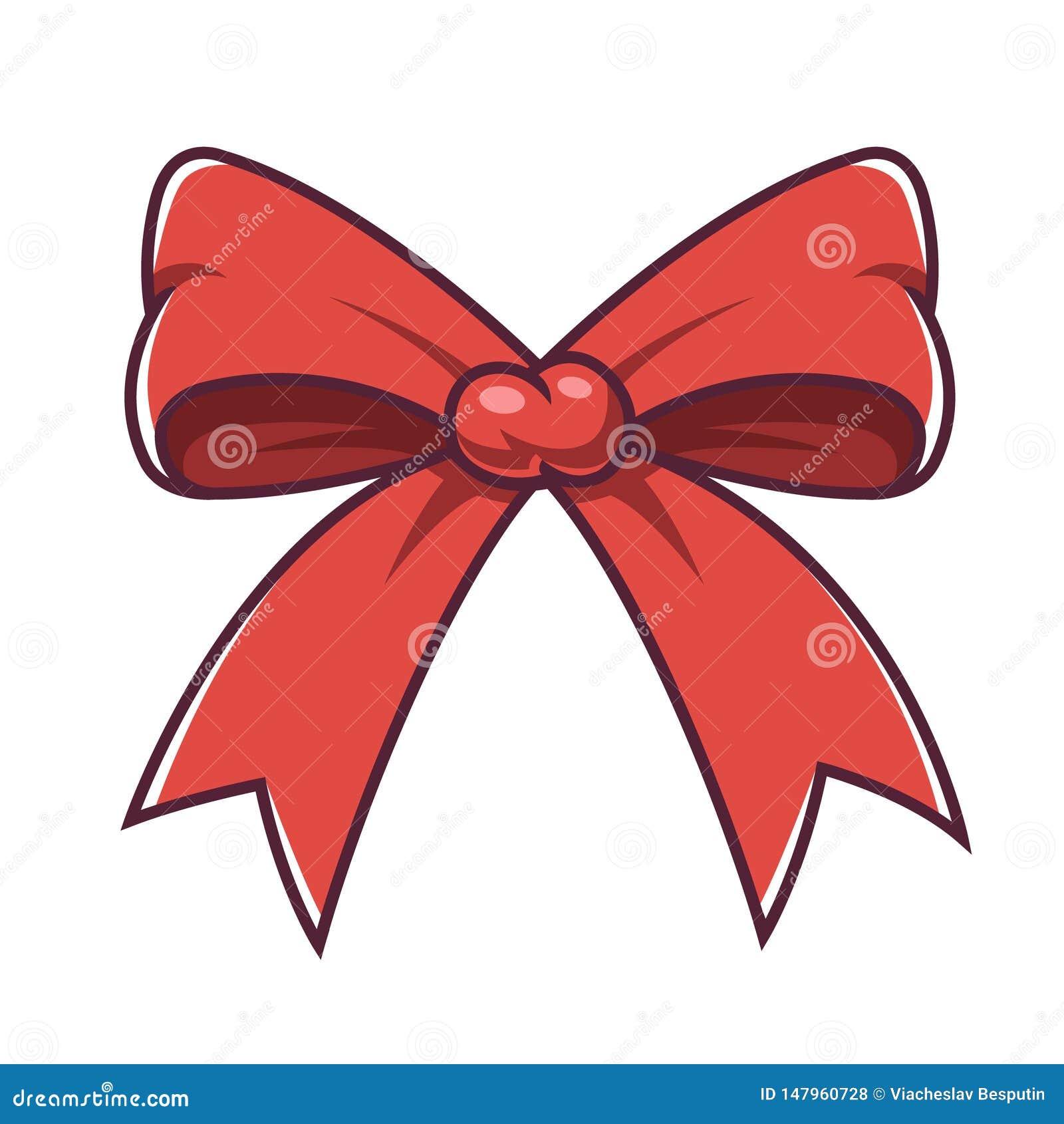 Curva vermelha do Natal em um fundo branco