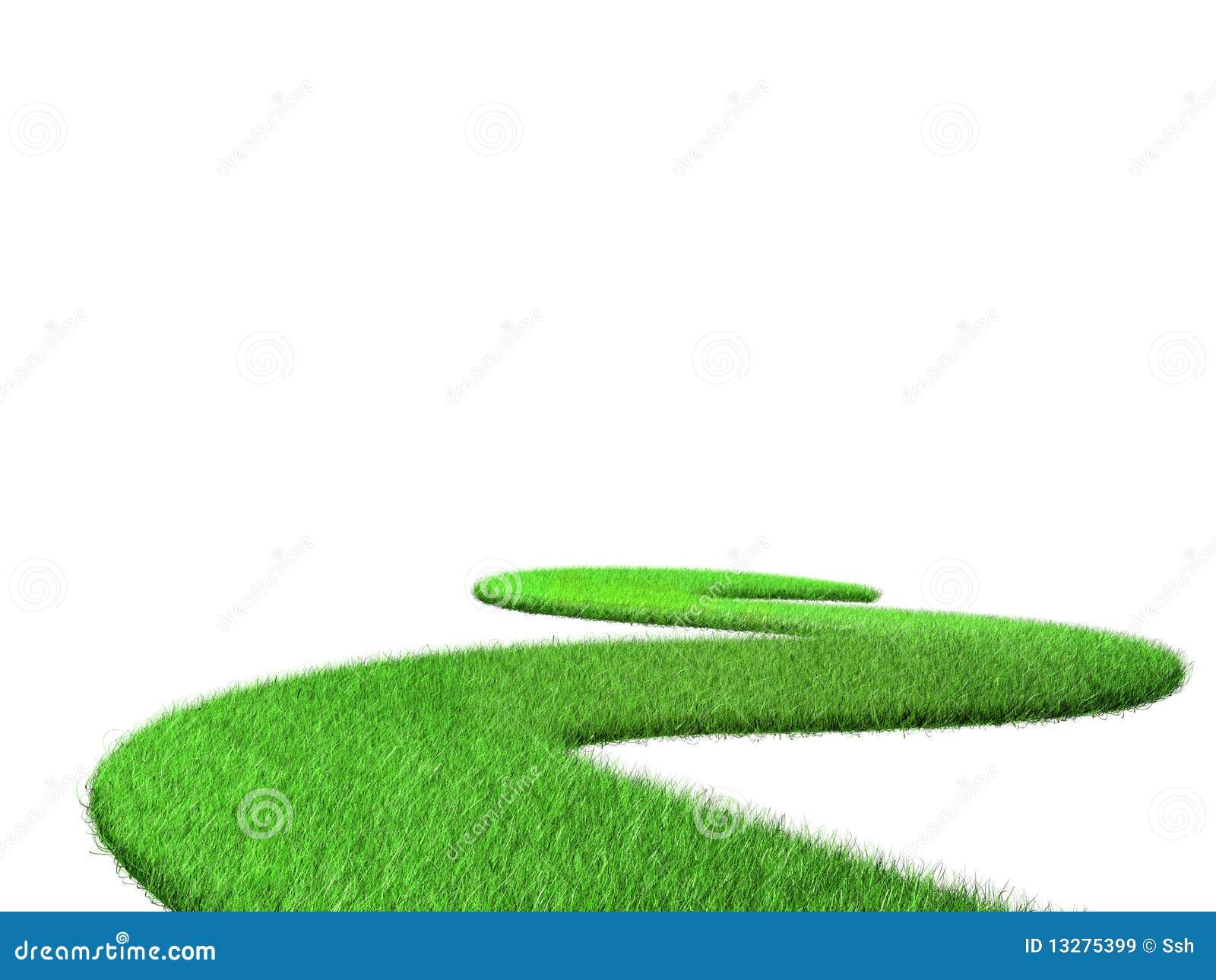 Curvar el camino de la hierba