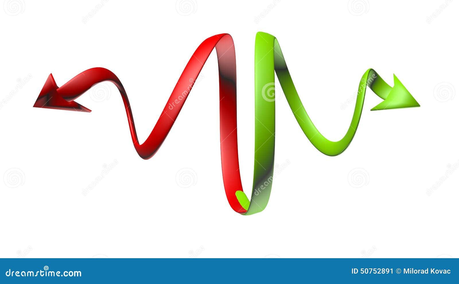 Curvar flechas verdes y rojas con un aspecto 3D