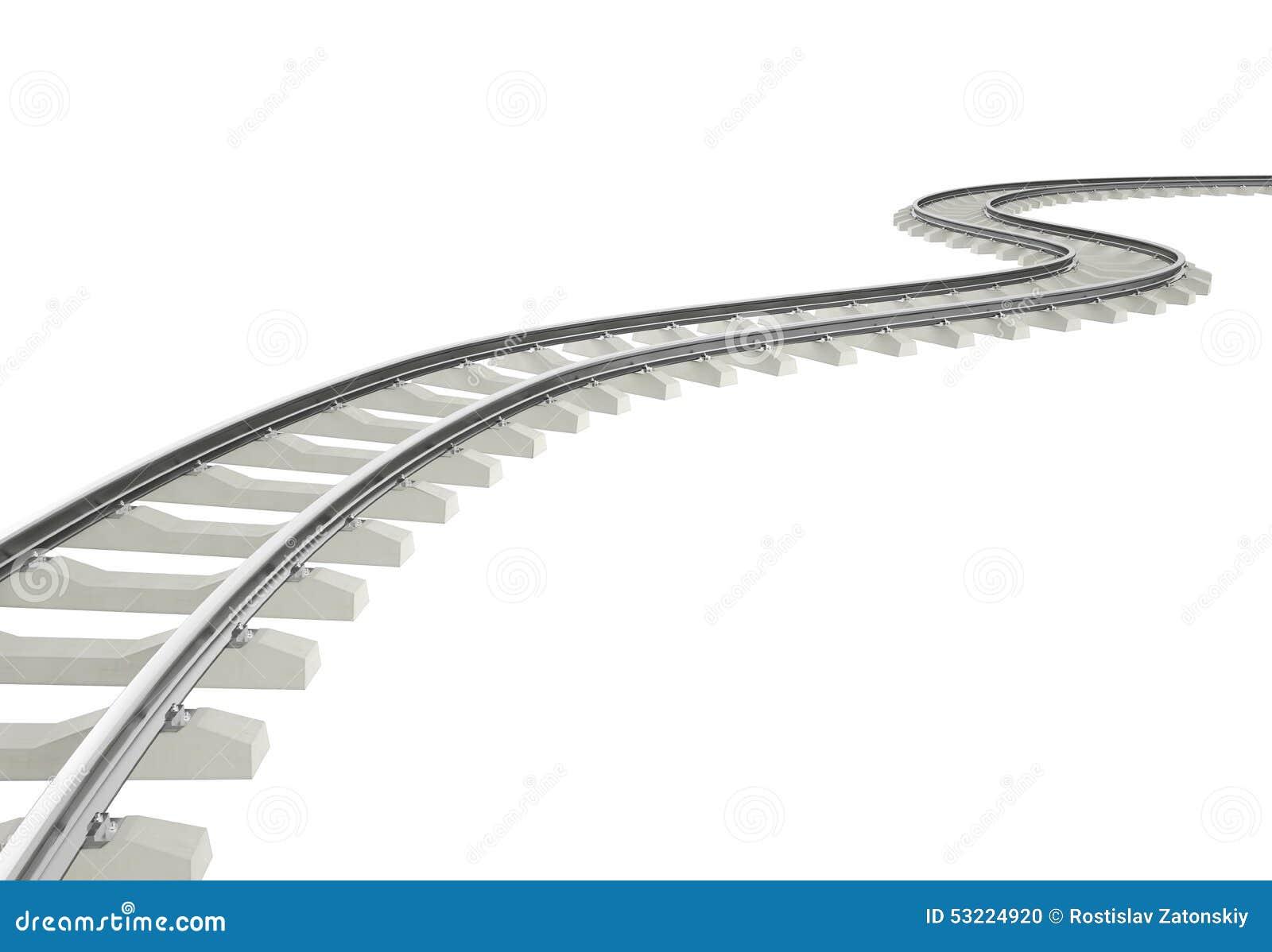 Curvatura dell illustrazione, ferrovia di giro isolata su bianco