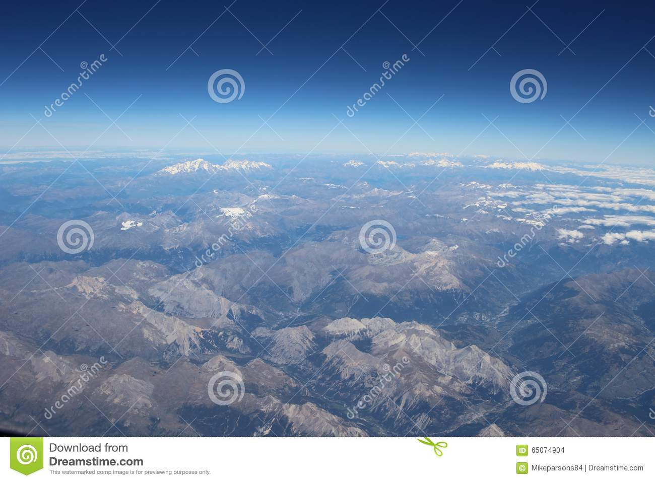 Curvature Of The Earth Over The Alps Stock Photo - Image of travel