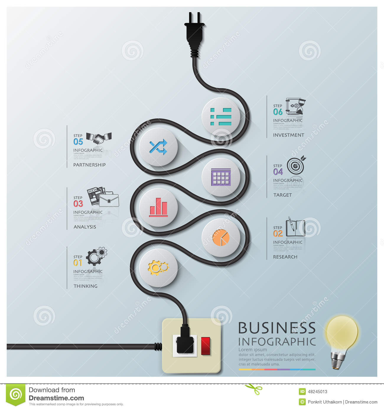 Curve Electric Wire Line Diagram Business Infographic