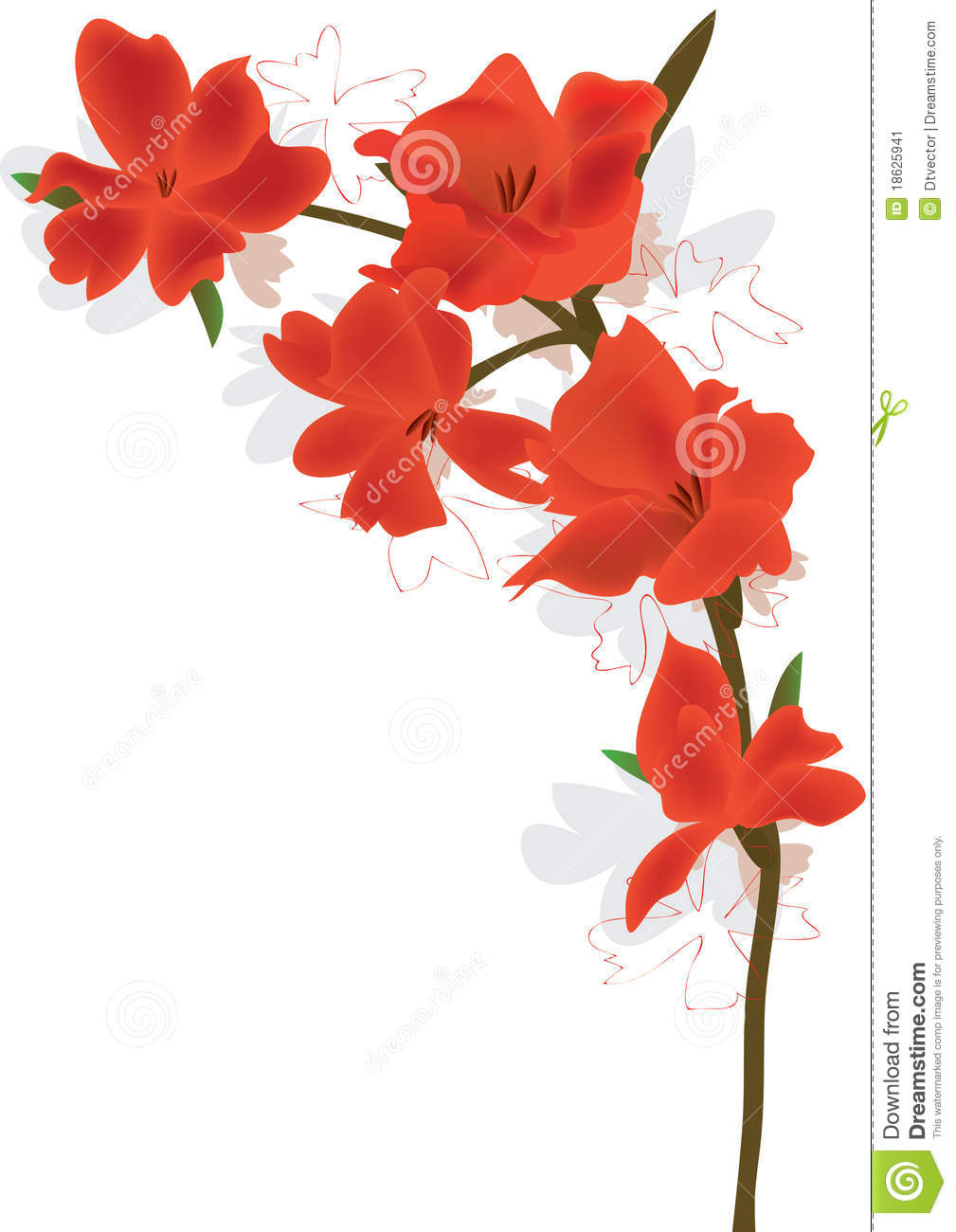 Illustration of curve flower with white background. Triangle area is ...