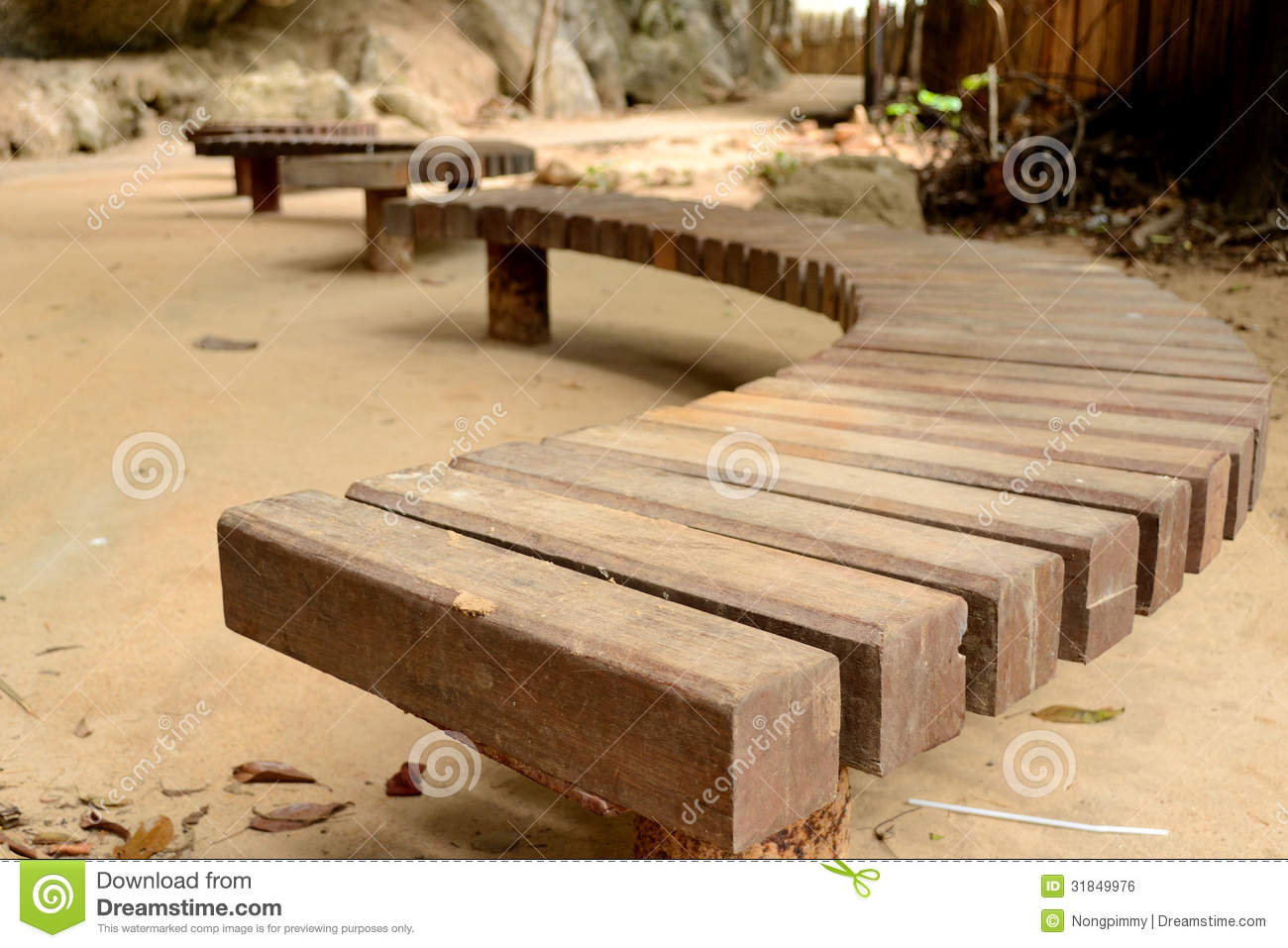 Curve Wooden Bench Royalty Free Stock Image Image