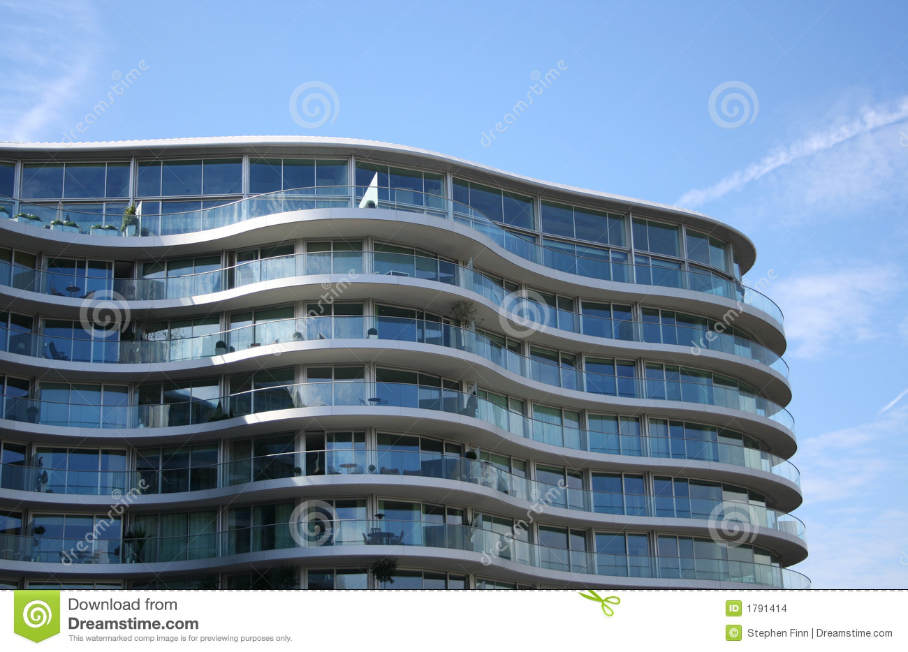 Curved Apartment Building Stock Photo Image