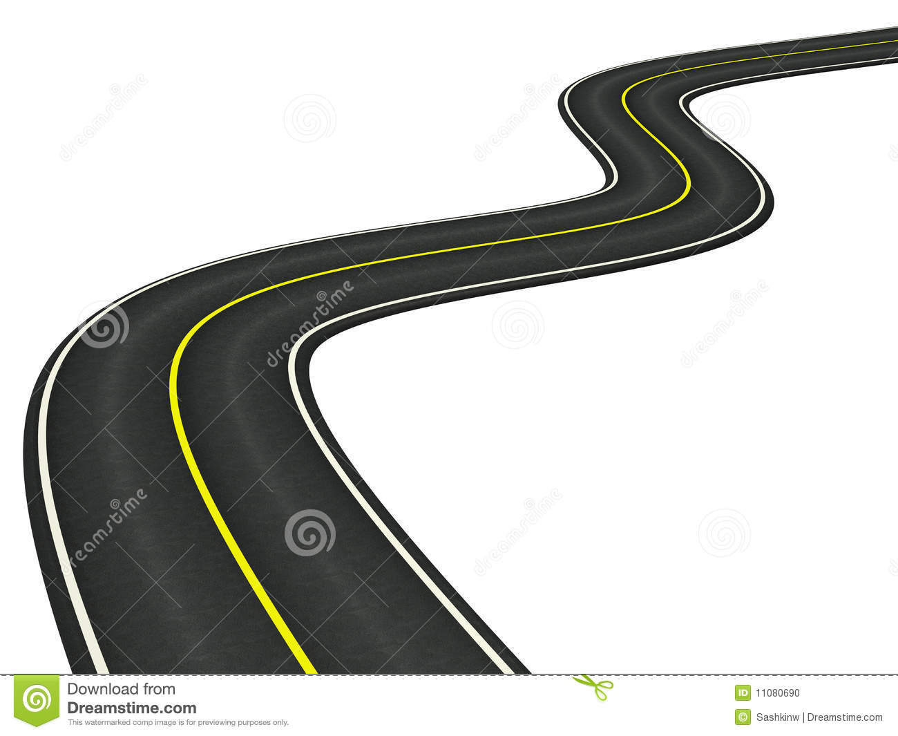 3d rendered Curved asphalt road on white background.