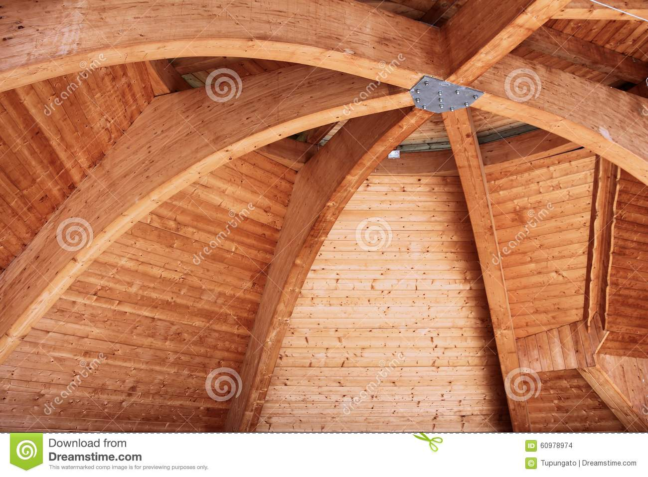 Curved Beam Wooden Roof Stock Photo Image 60978974