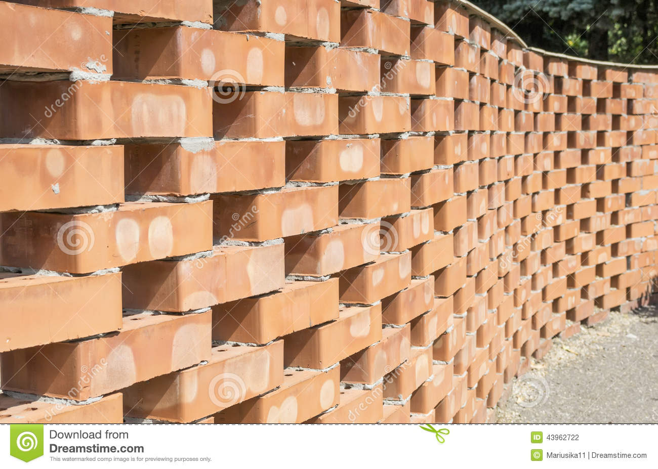 Curved Brick Wall Pattern Stock Photo Image 43962722