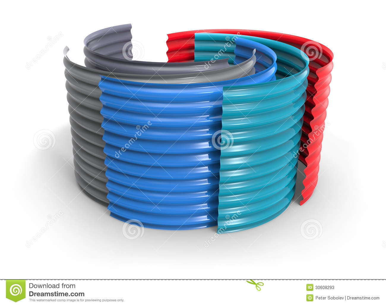 Curved Corrugated Plastic Sheets Stock Illustration