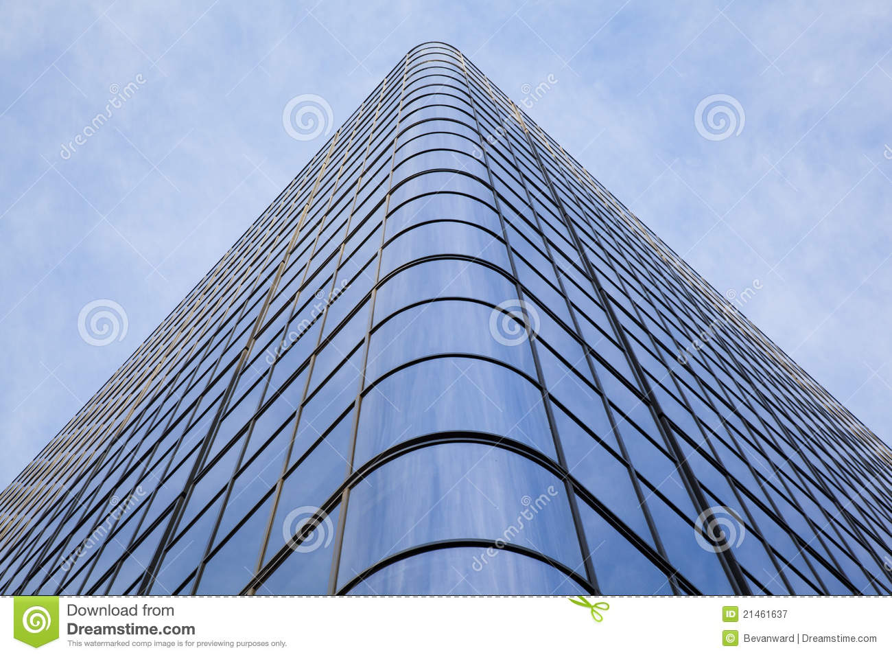 Curved Glass On Office Building Stock Image Image Of