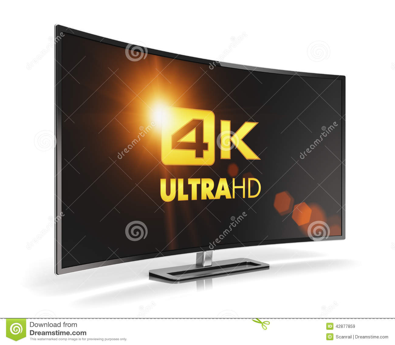 Curved 4K UltraHD TV Stock Illustration - Image: 42877859