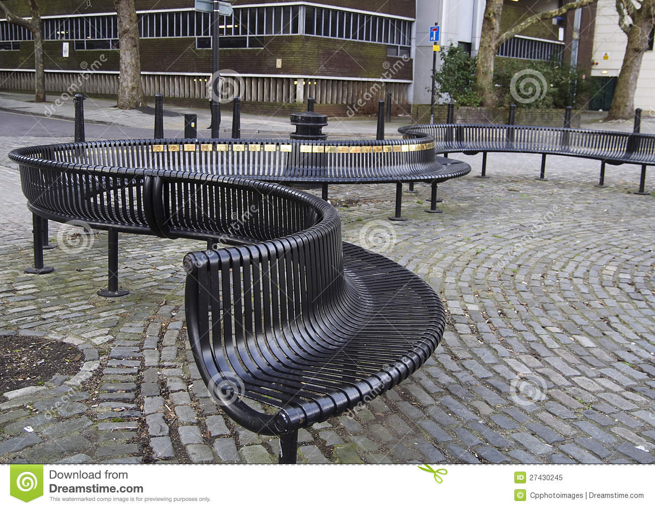 Curved Metal Outdoor Seating Royalty Free Stock Photo - Image ...