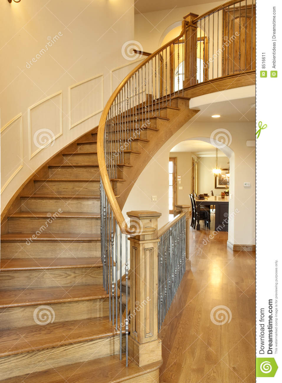 Curved Oak Staircase Stock Image Image Of Story Custom