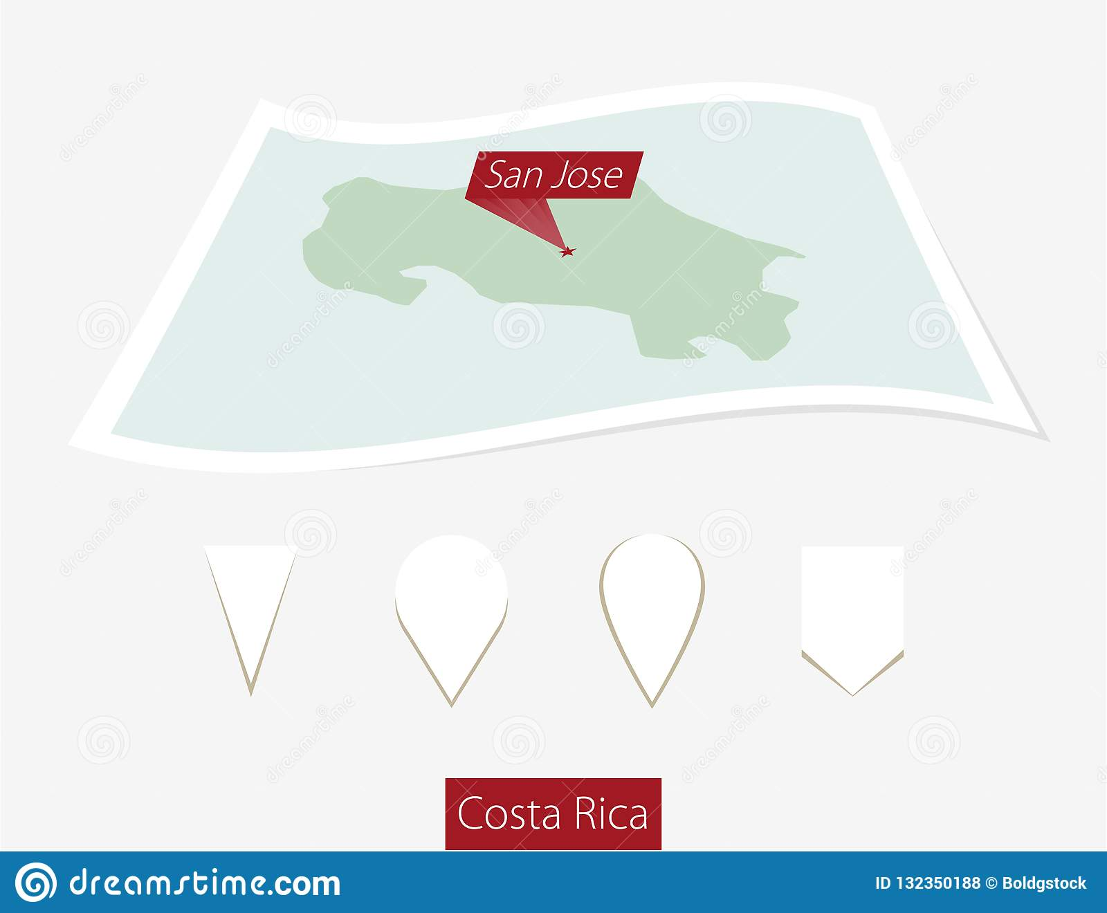 Curved Paper Map Of Costa Rica With Capital San Jose On Gray ... on