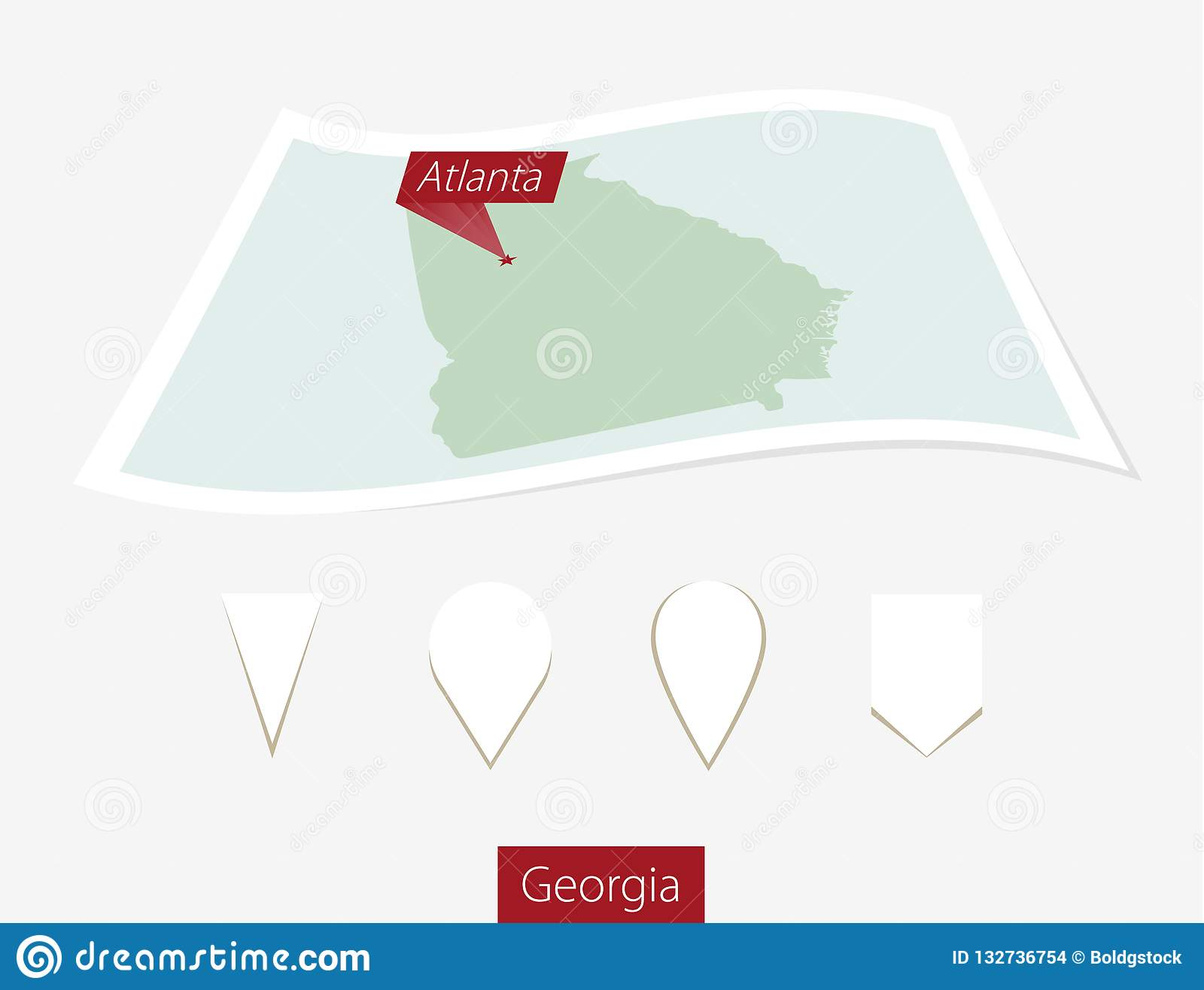 Atlanta On Map Of Georgia.Curved Paper Map Of Georgia State With Capital Atlanta On Gray B