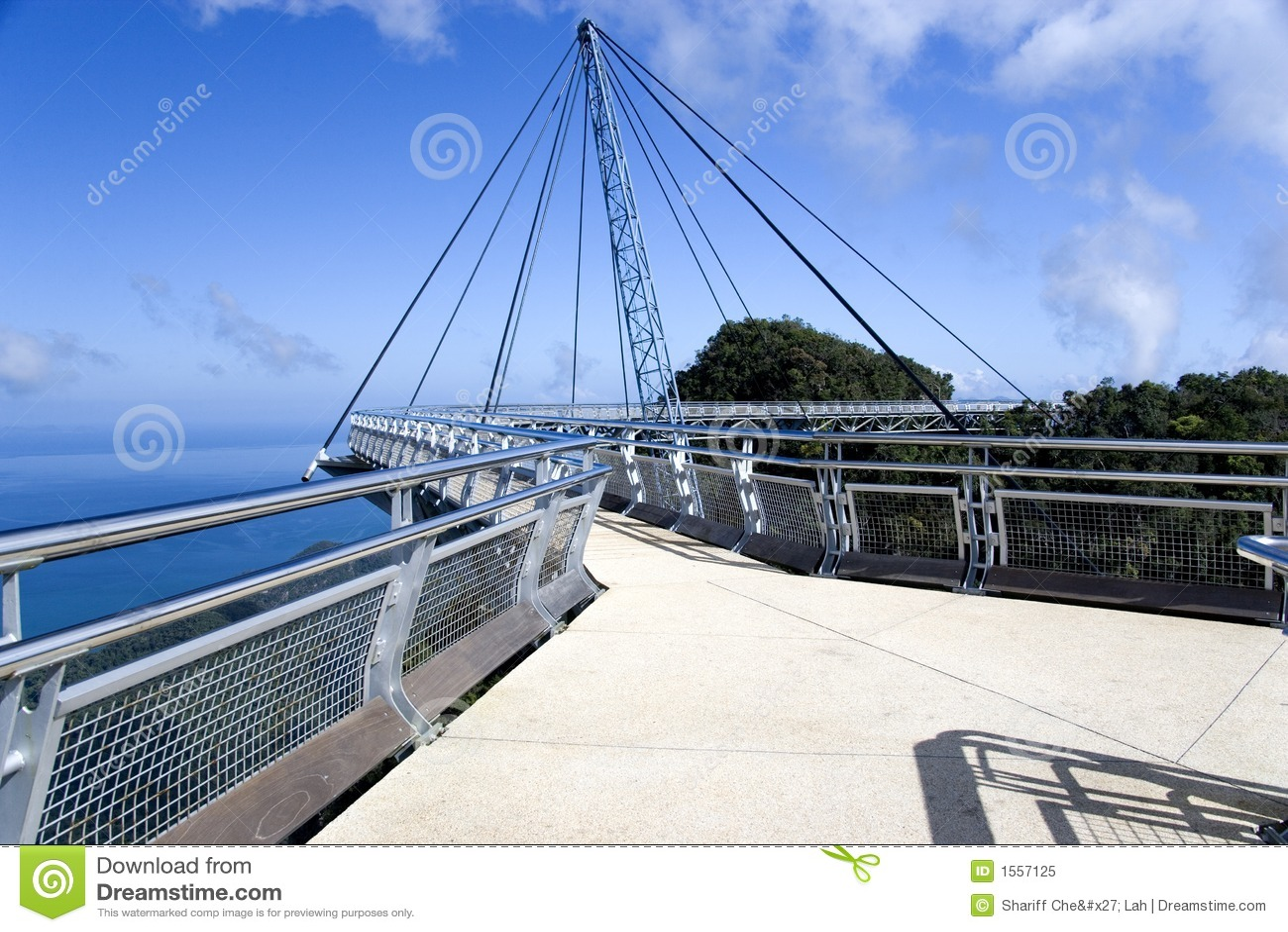 Curved Suspension Bridge stock image  Image of design - 1557125