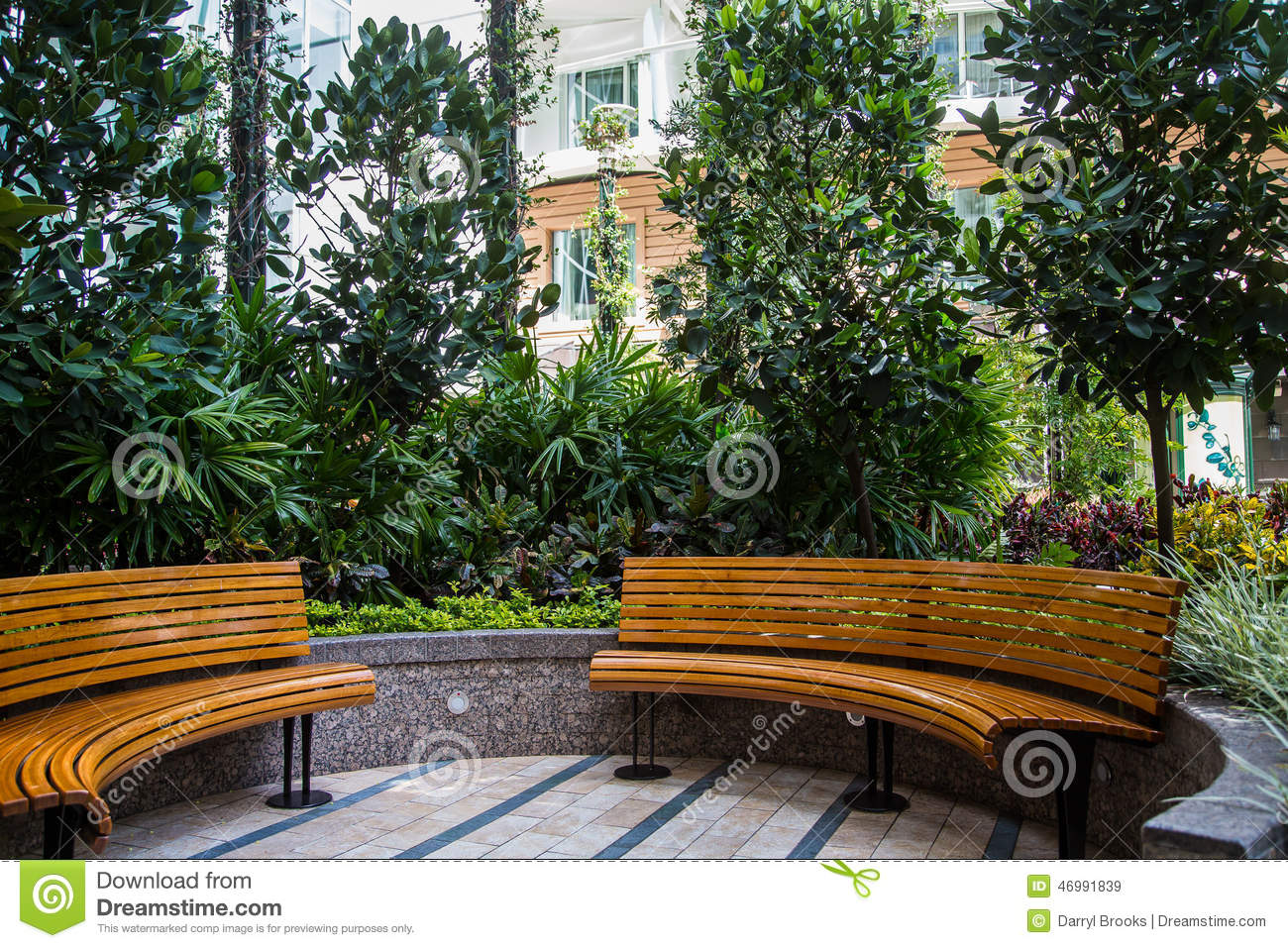 Curved Wood Benches In Garden Stock Photo - Image: 46991839