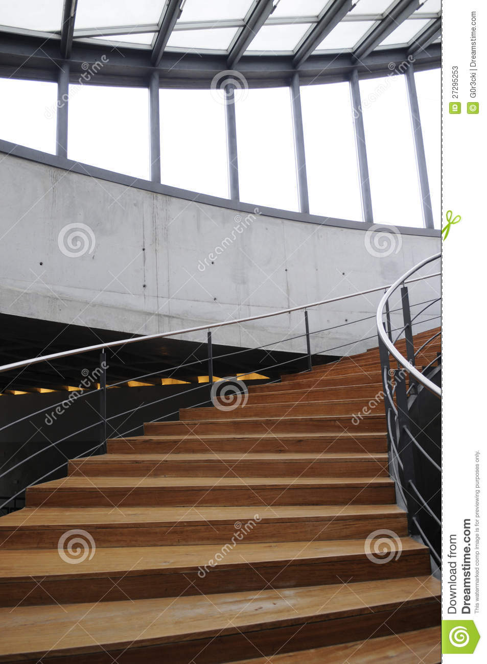 Curved Wooden Staircase_Interior Modern Architecture