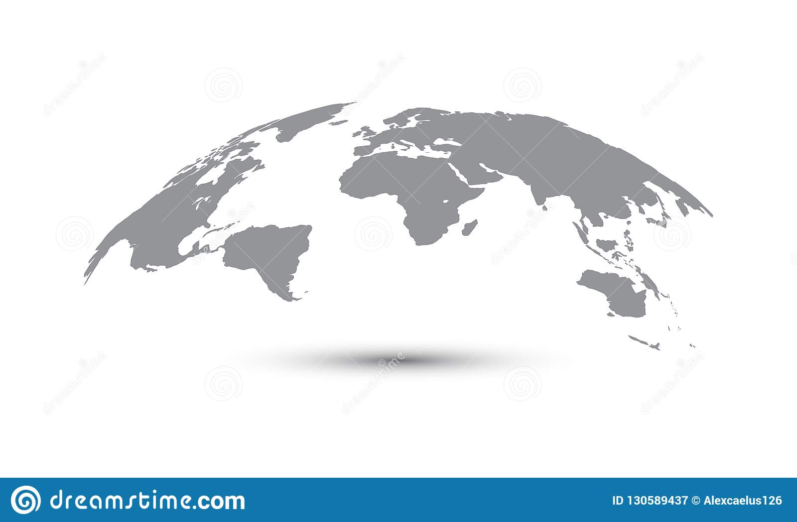 Curved World Map Vector Globe Planet Concept Map For Website