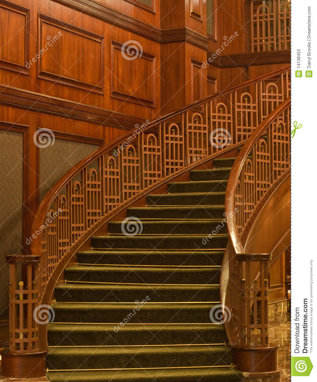 Curving Staircase With Green Carpet Stock Image Image