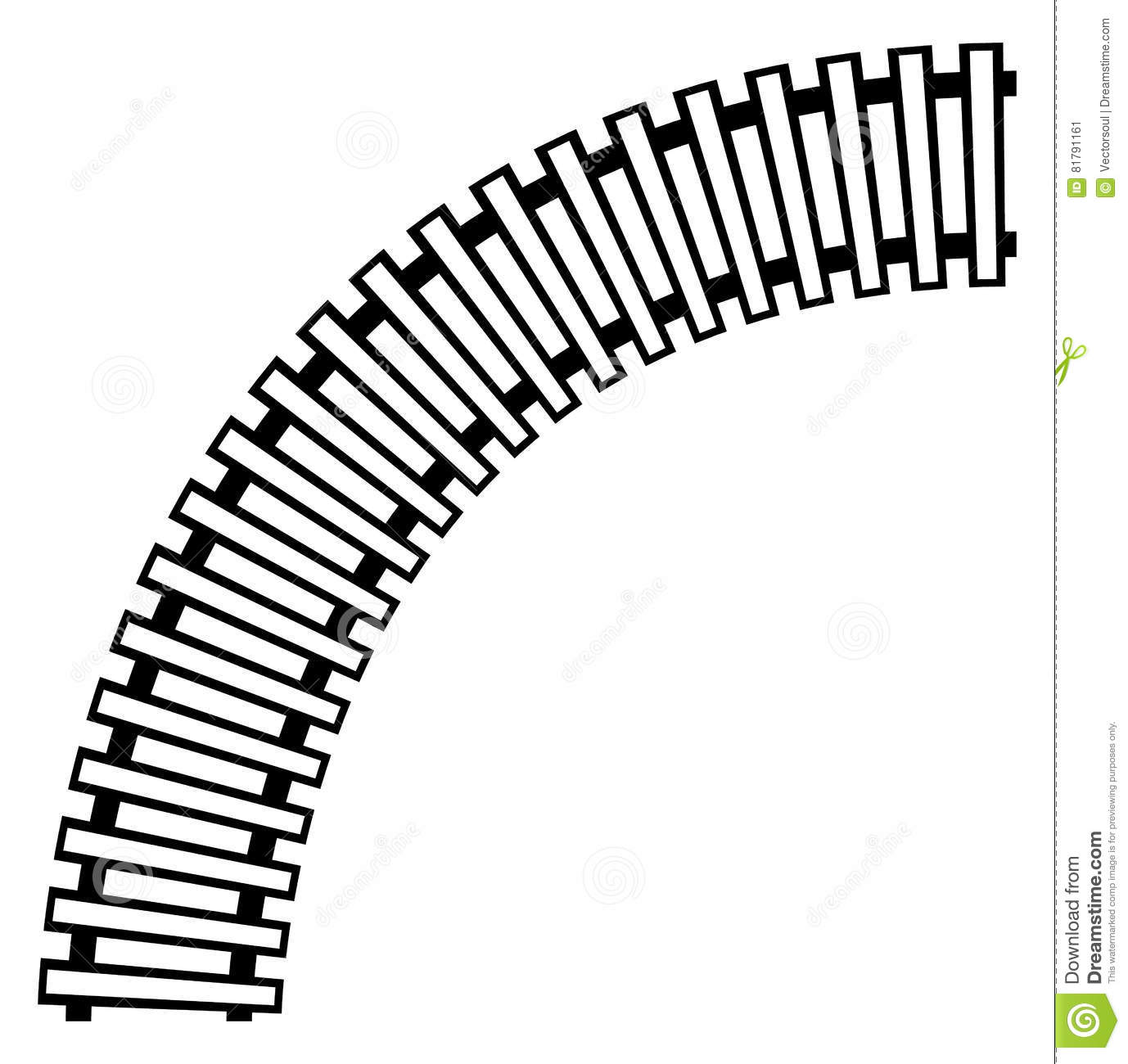 Curving Train Track, Rail Track Silhouette Isolated Stock Vector