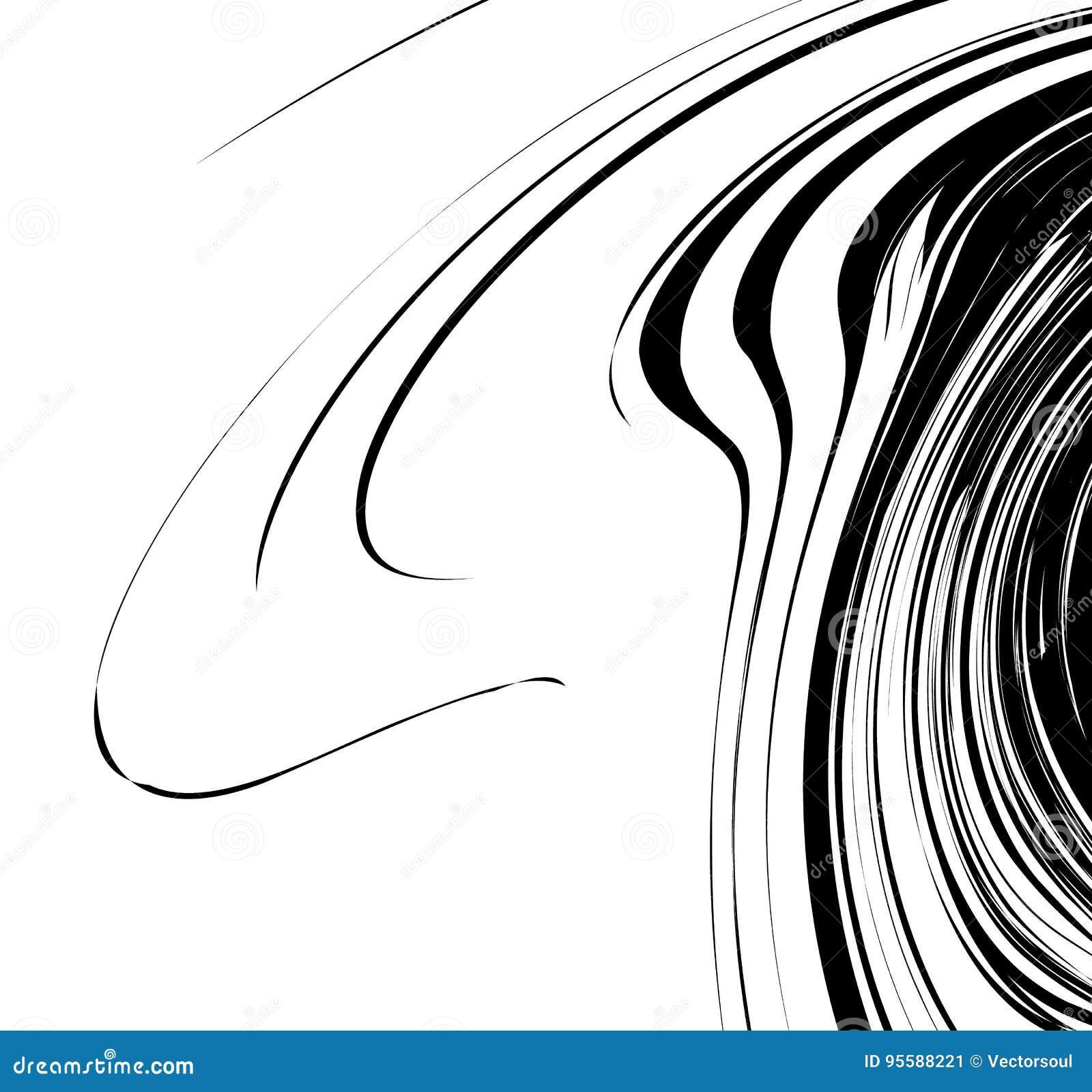 Curvy, развевая линии абстрактный элемент геометрии Monochrome distor