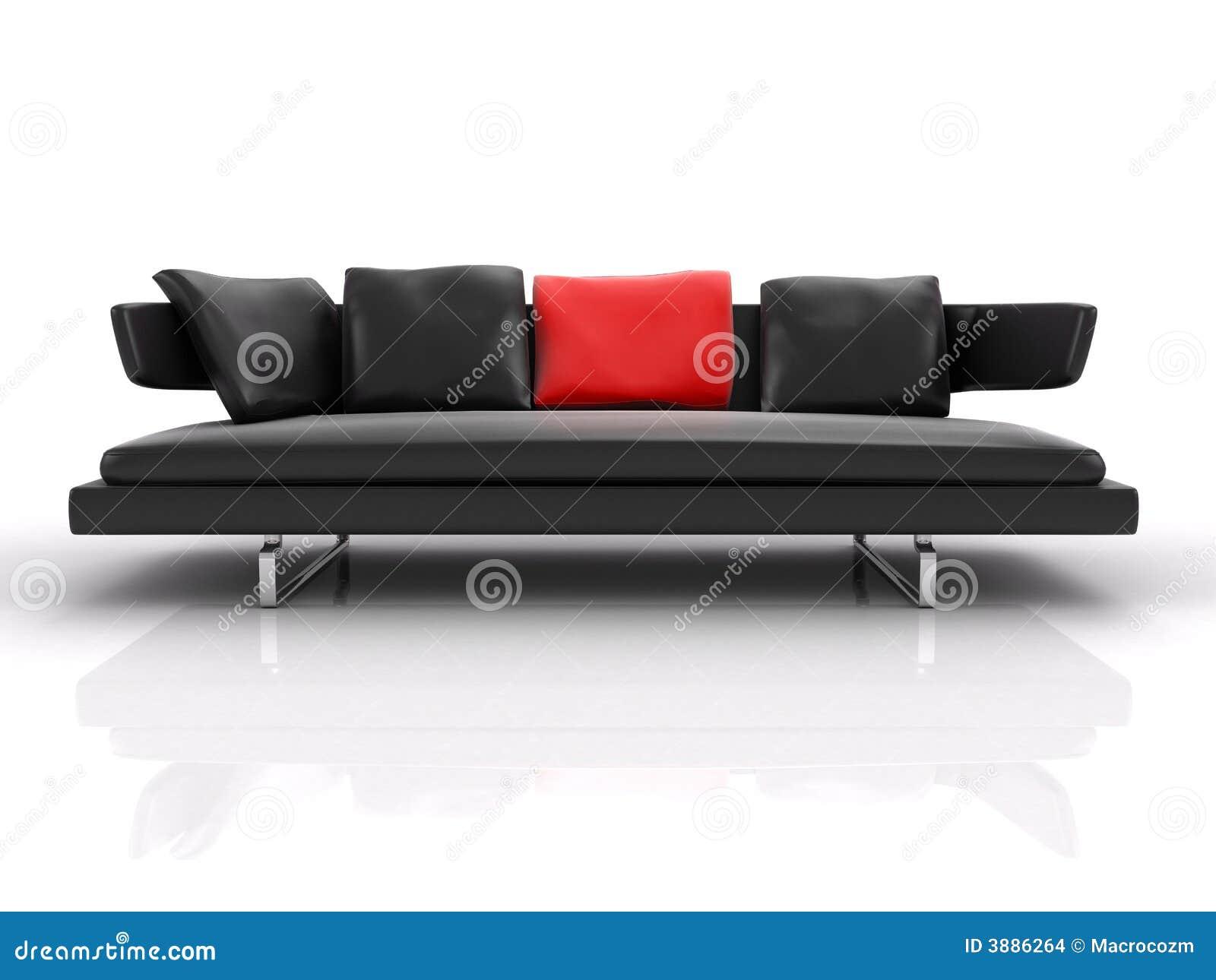 Cuscino di cuoio nero di colore rosso del whith dello strato