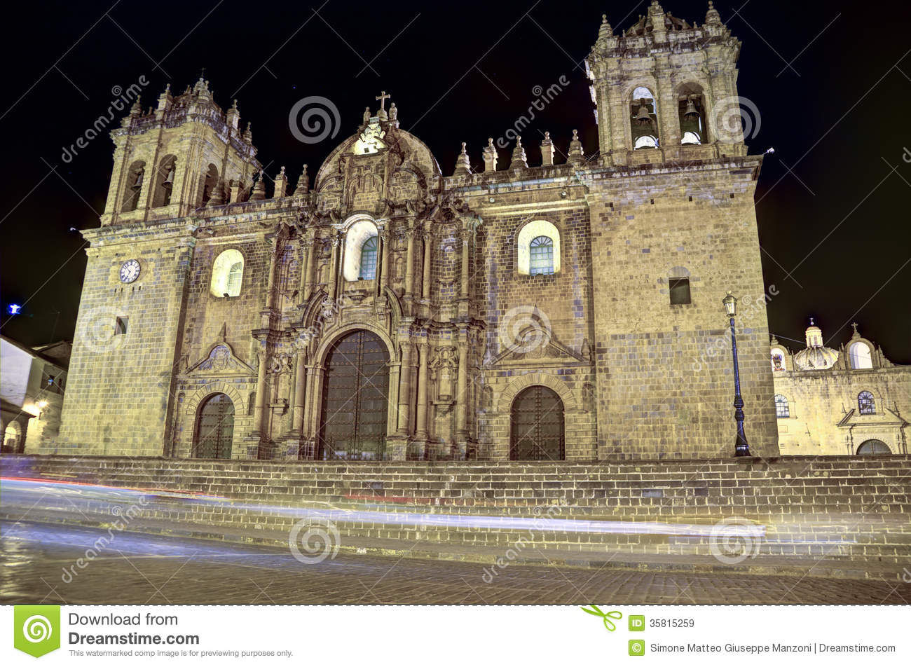 Download Cusco cathedral, Peru stock image. Image of bell, colonial - 35815259