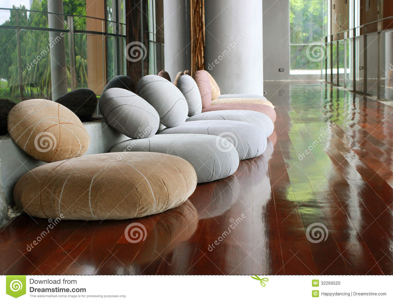 Cushion seat in quiet room for meditation