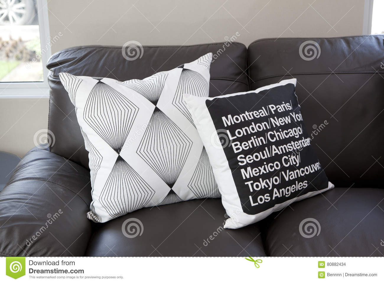 Picture of: Cushions On Black Leather Sofa Stock Photo Image Of Decoration Cushion 80882434