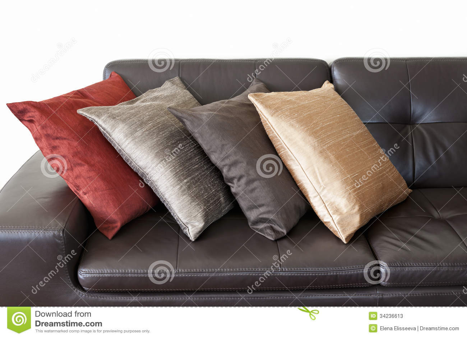 Cushions On Leather Sofa Stock Photos Image 34236613