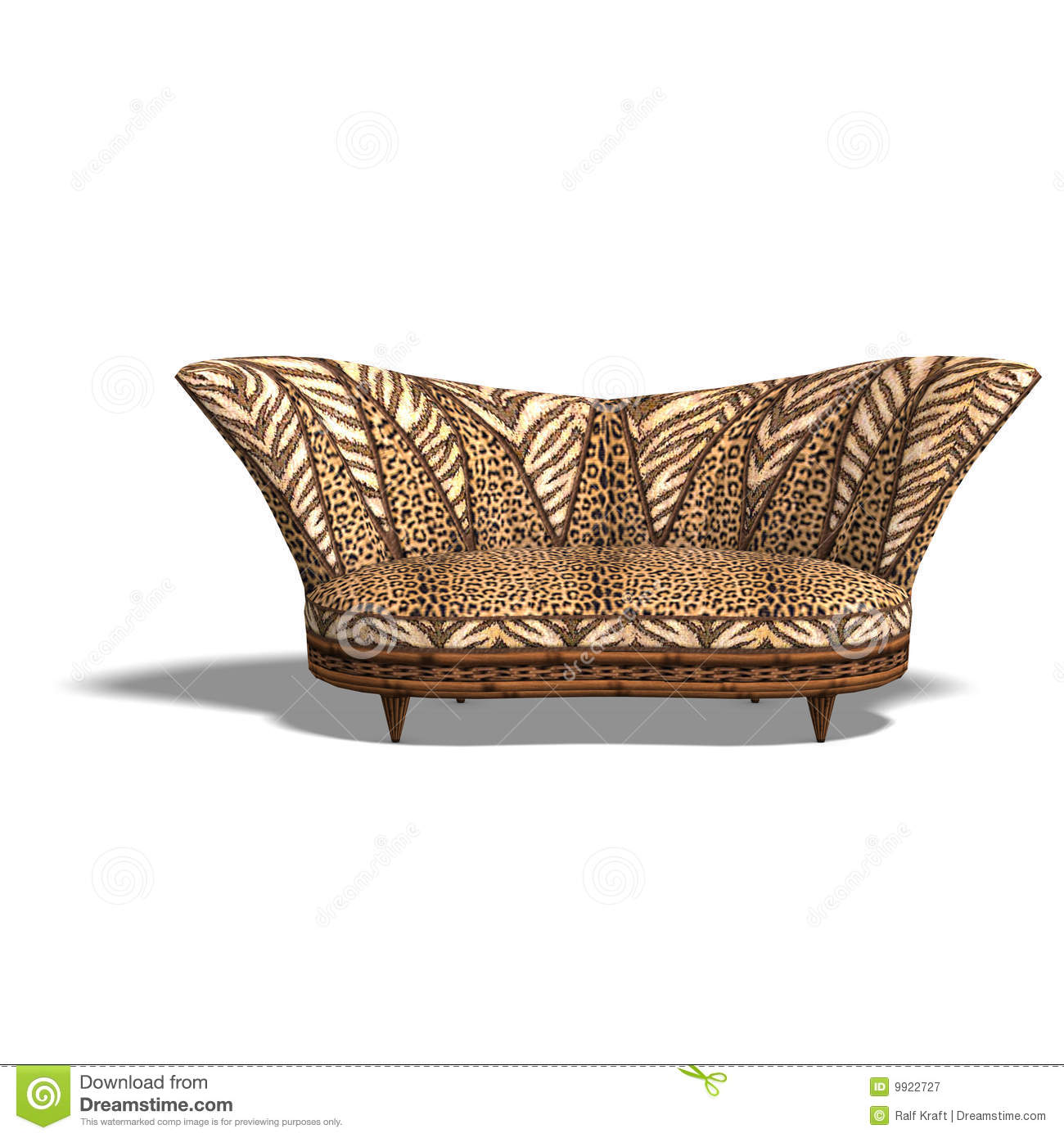 Cushy Sofa With African Design Stock Illustration Image