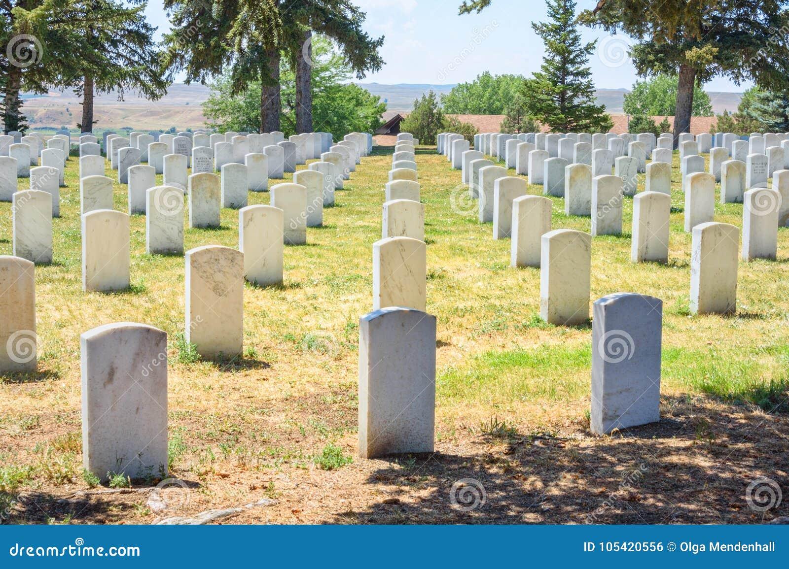 Custer National Cemetery på den nationella monumentet för Little Bighornslagfält, Montana, USA