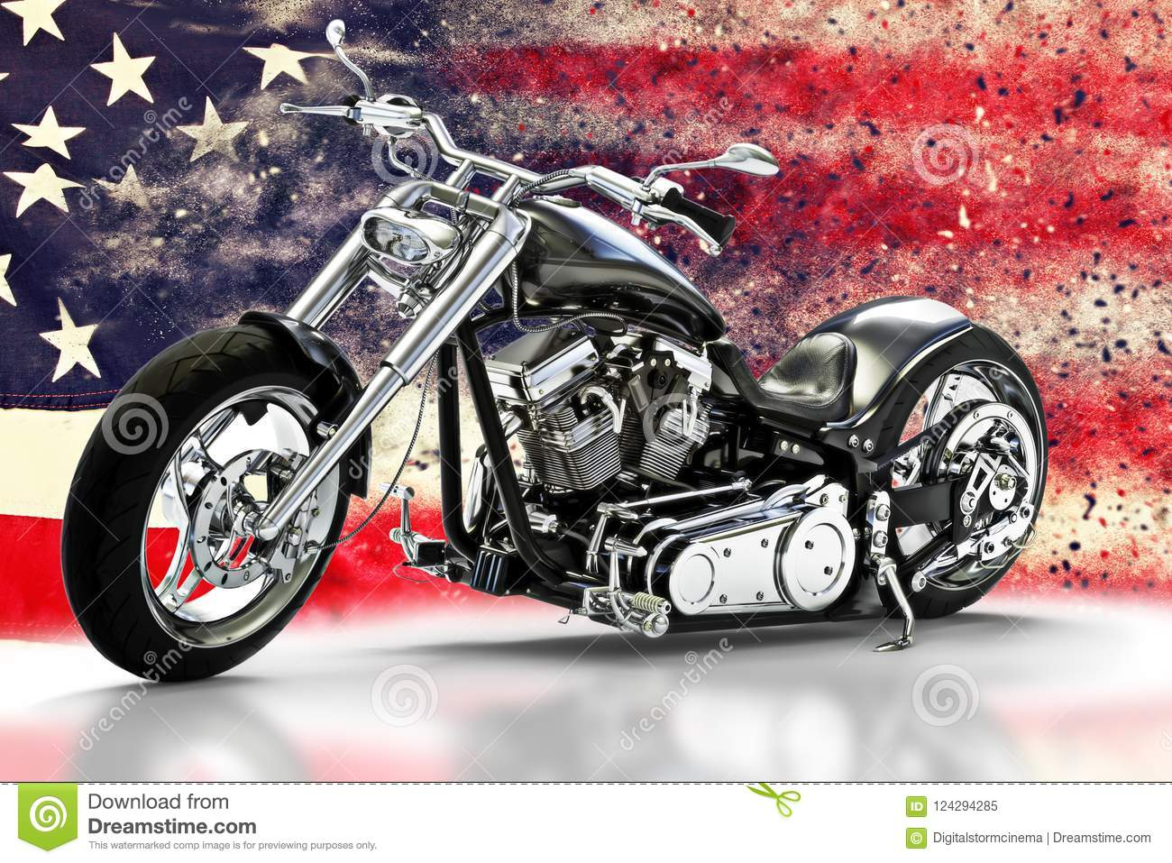 Custom black motorcycle with American flag background with dispersion effects. Made in America concept.